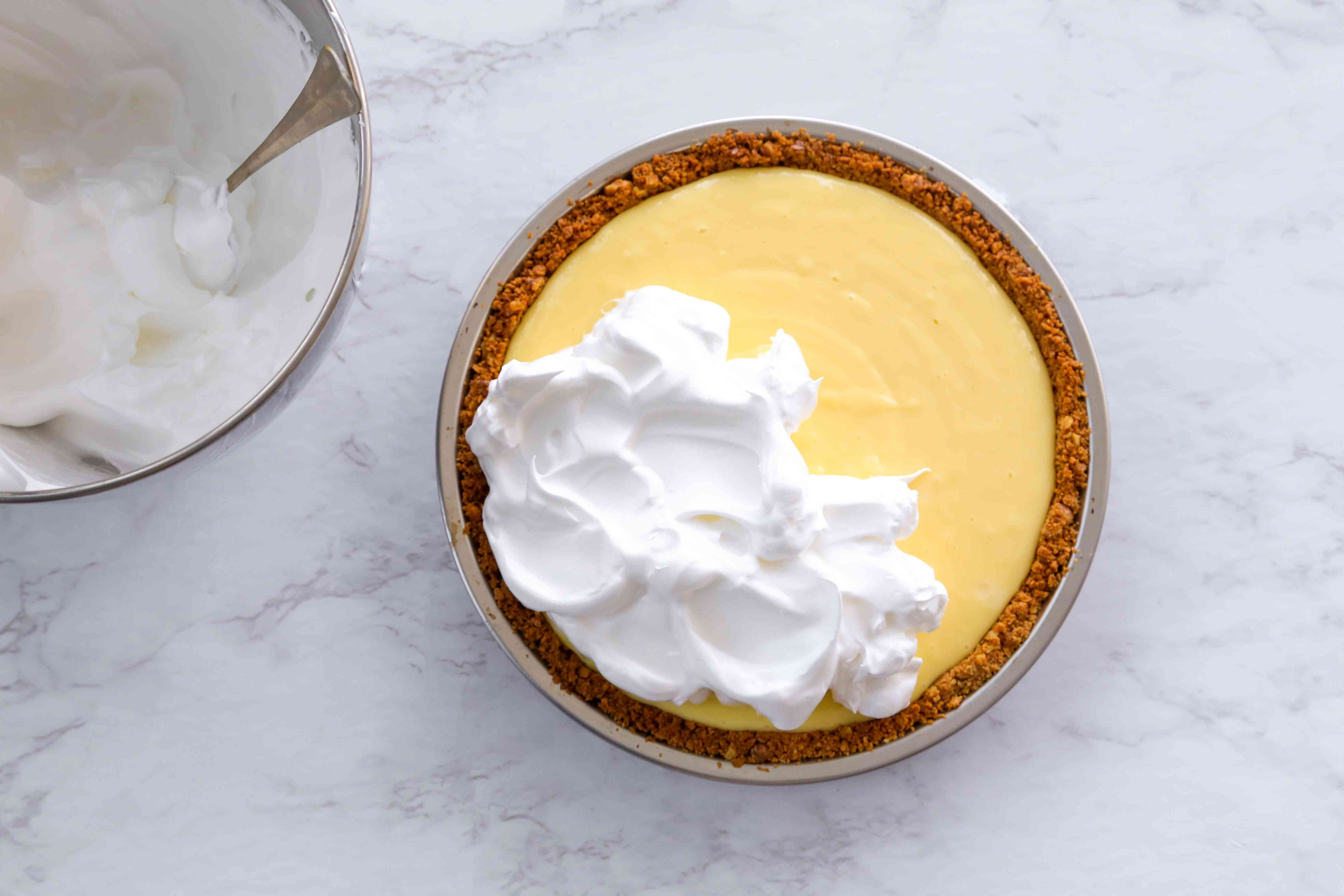 place the egg white mixture on top of the pie filling