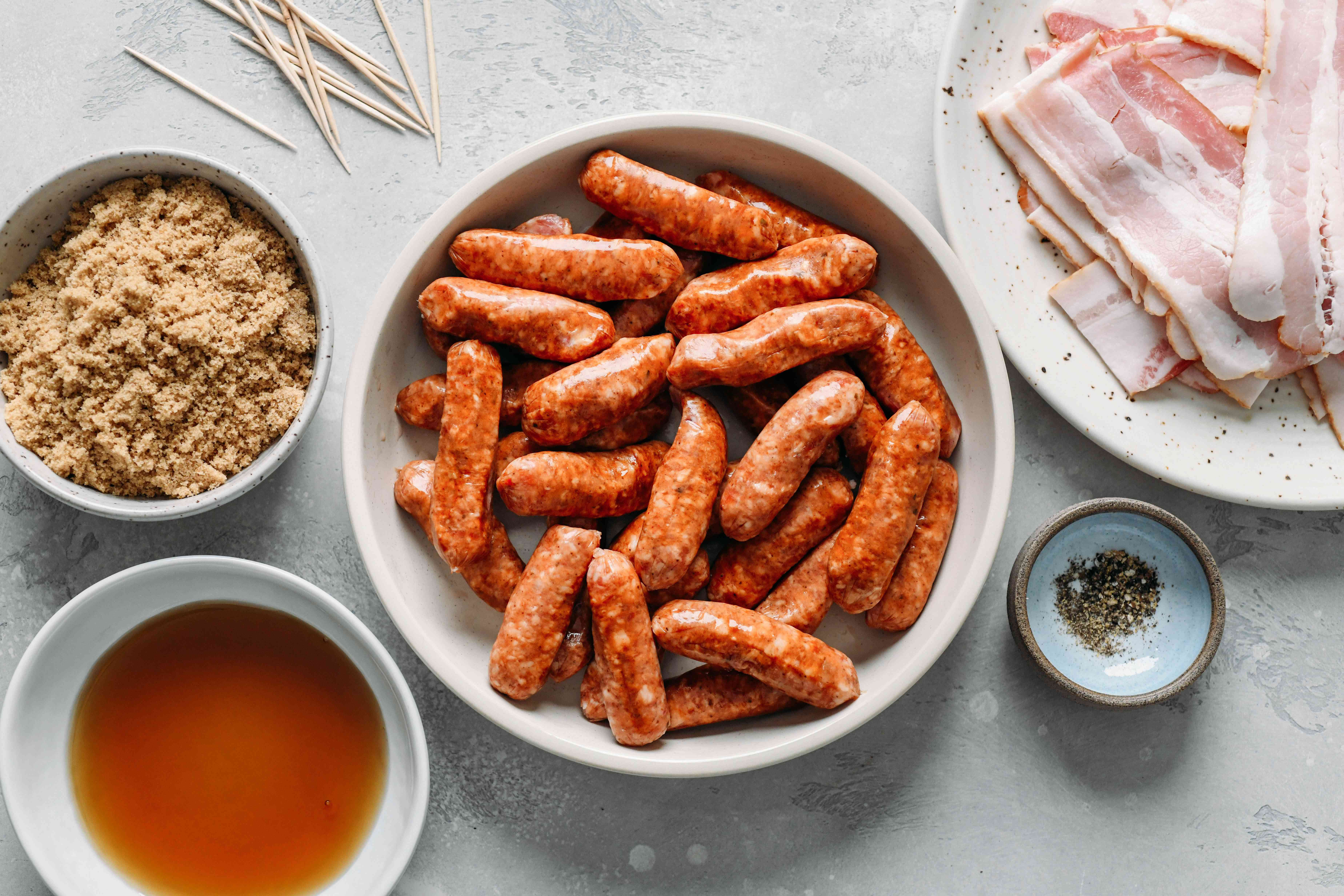 Bacon Wrapped Sausages ingredients