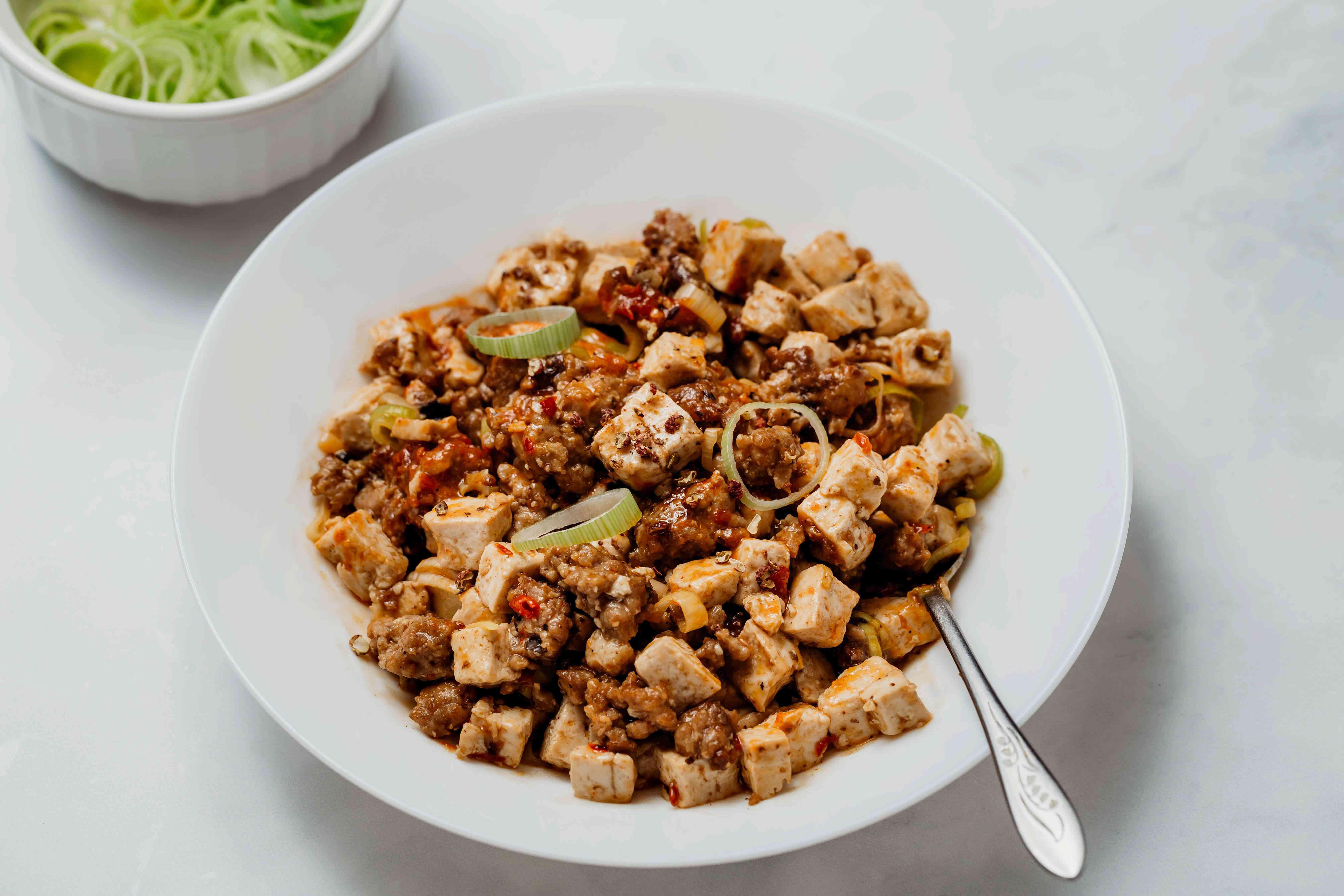 Sichuan Mapo Tofu, serve with freshly ground Szechuan pepper