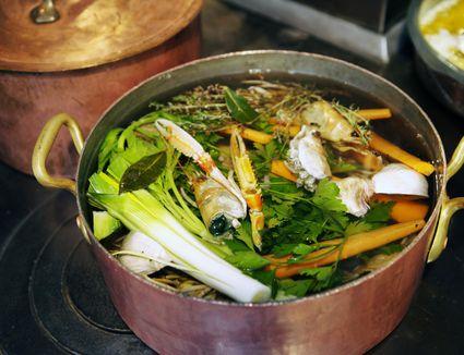 Stock pot in restaurant kitchen.
