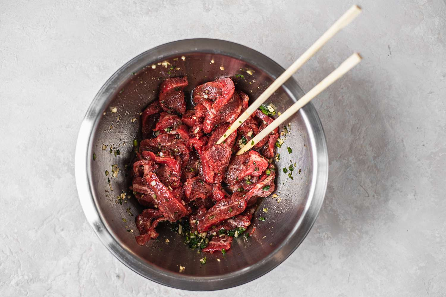 Mix the marinade into meat