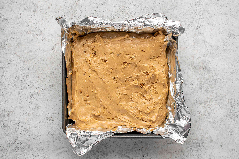 peanut butter mixture in a prepared baking pan
