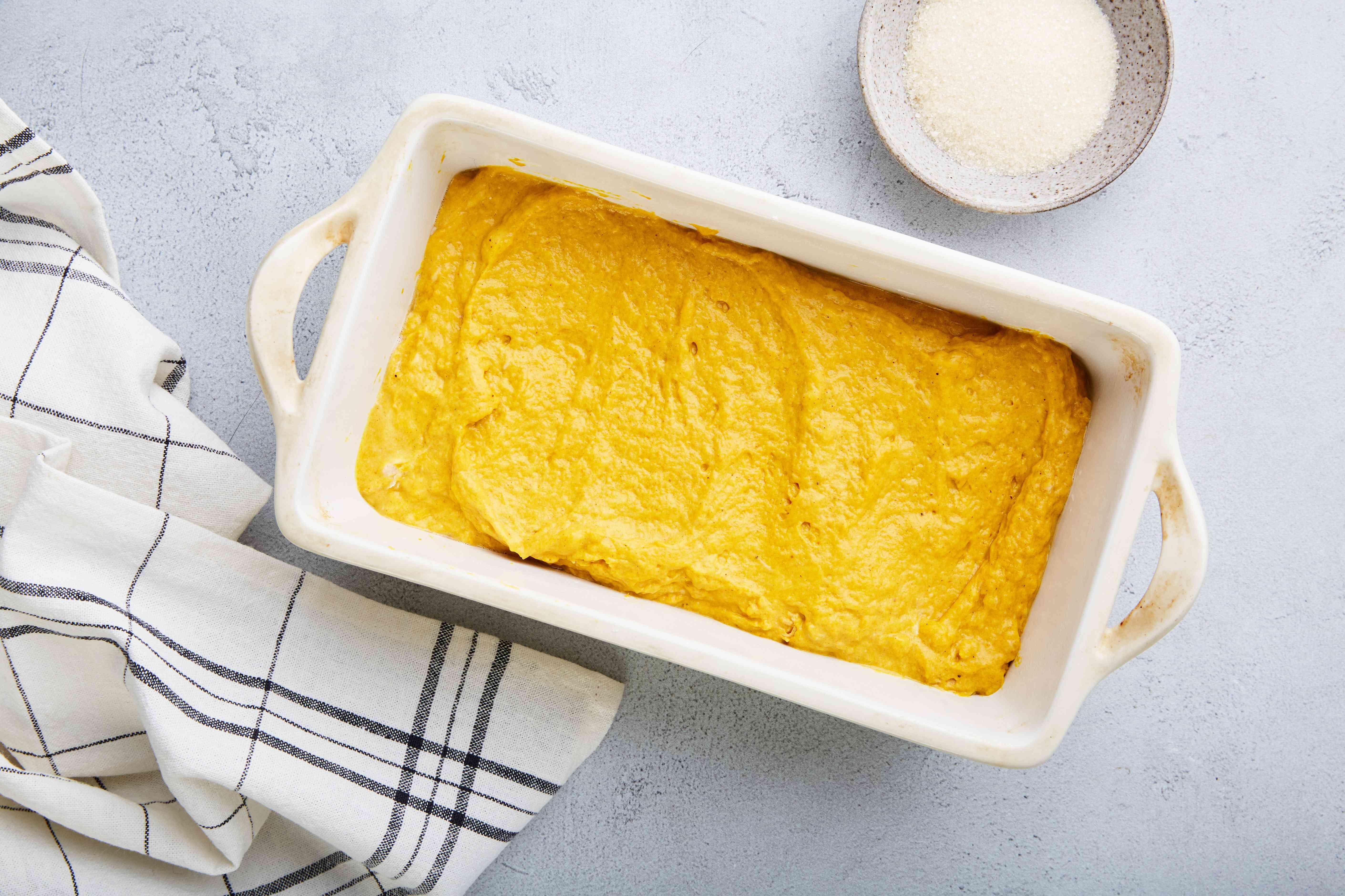 Pour into pan