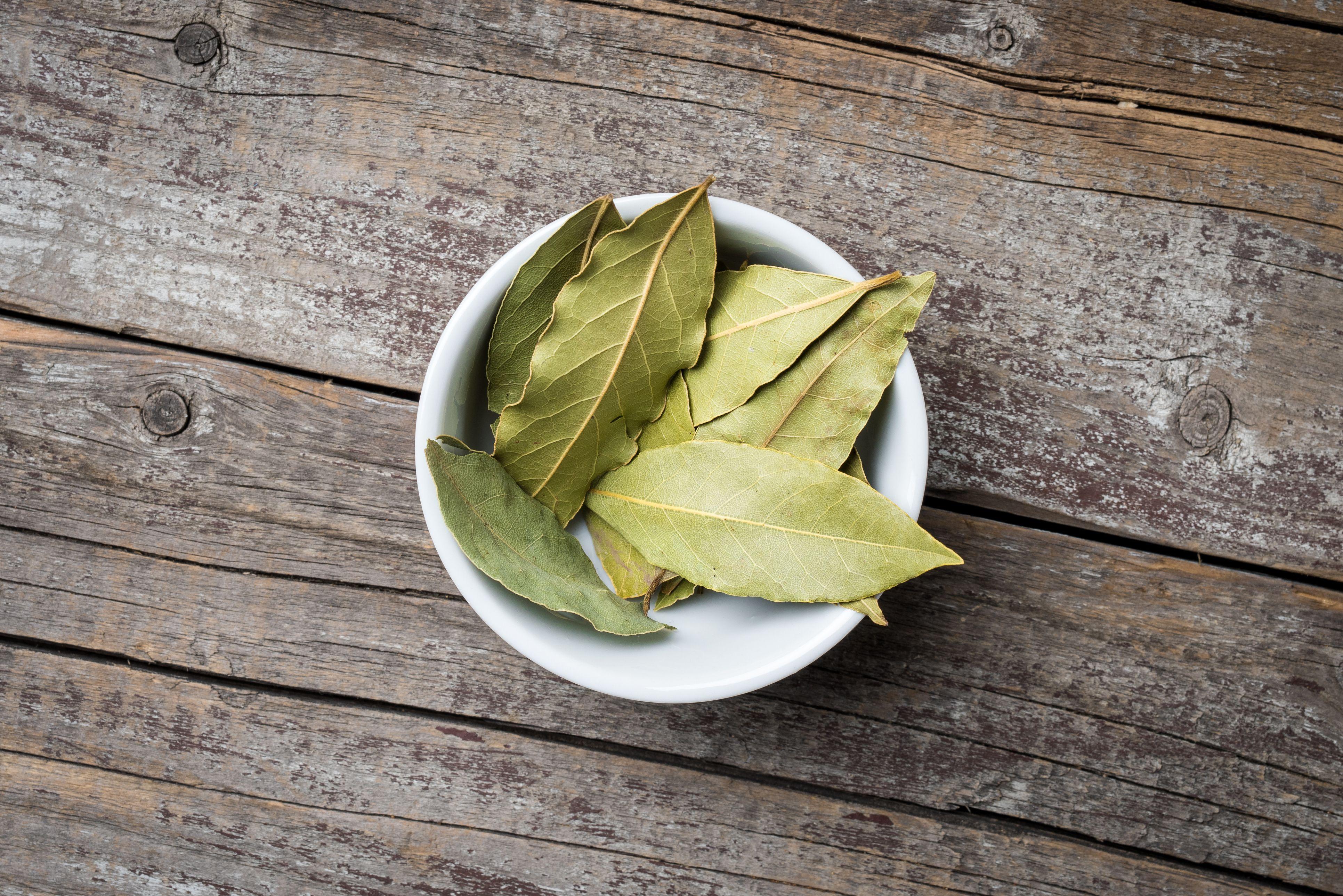 Bay leaves in white bowl