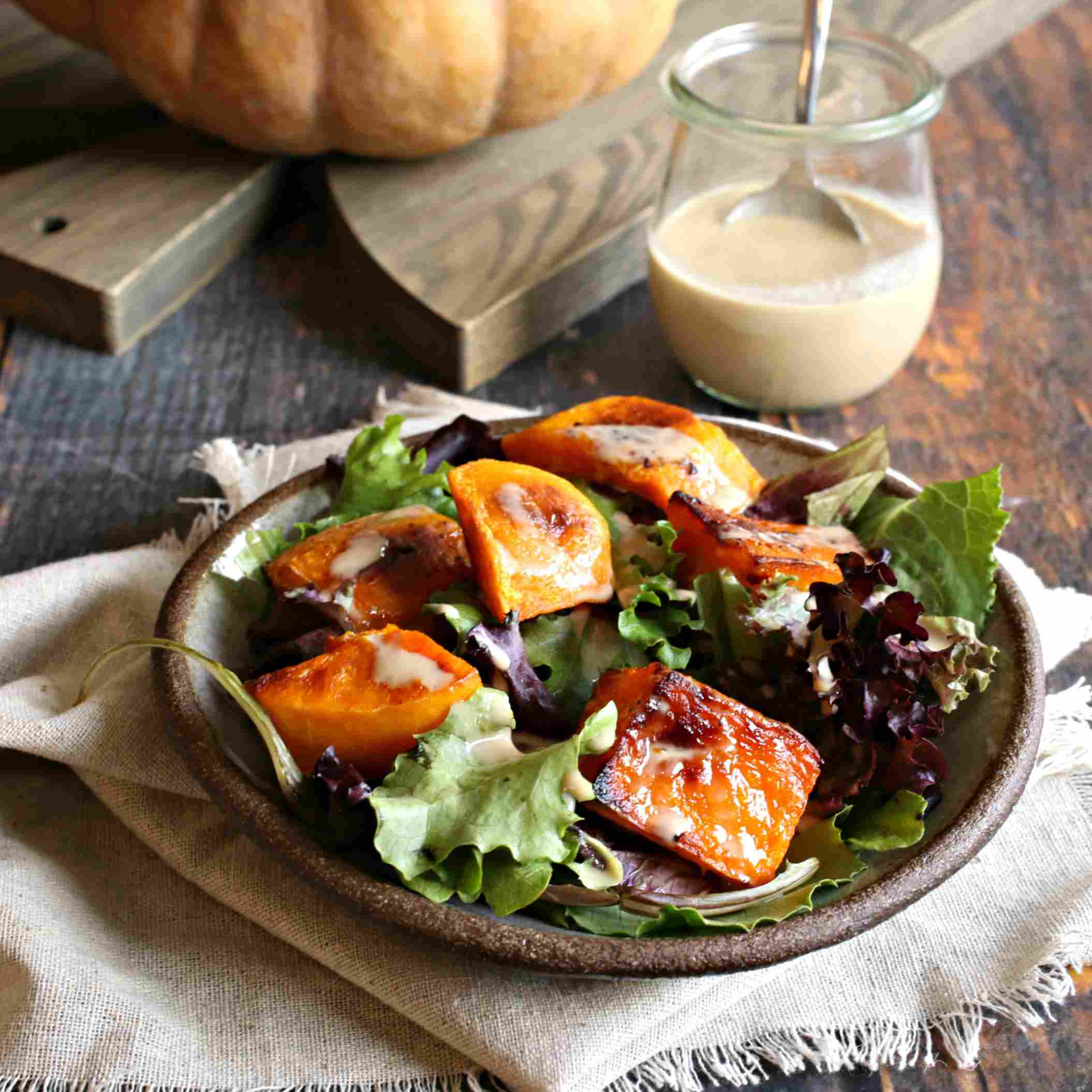 Warm Roasted Pumpkin Salad with Maple Tahini Dressing