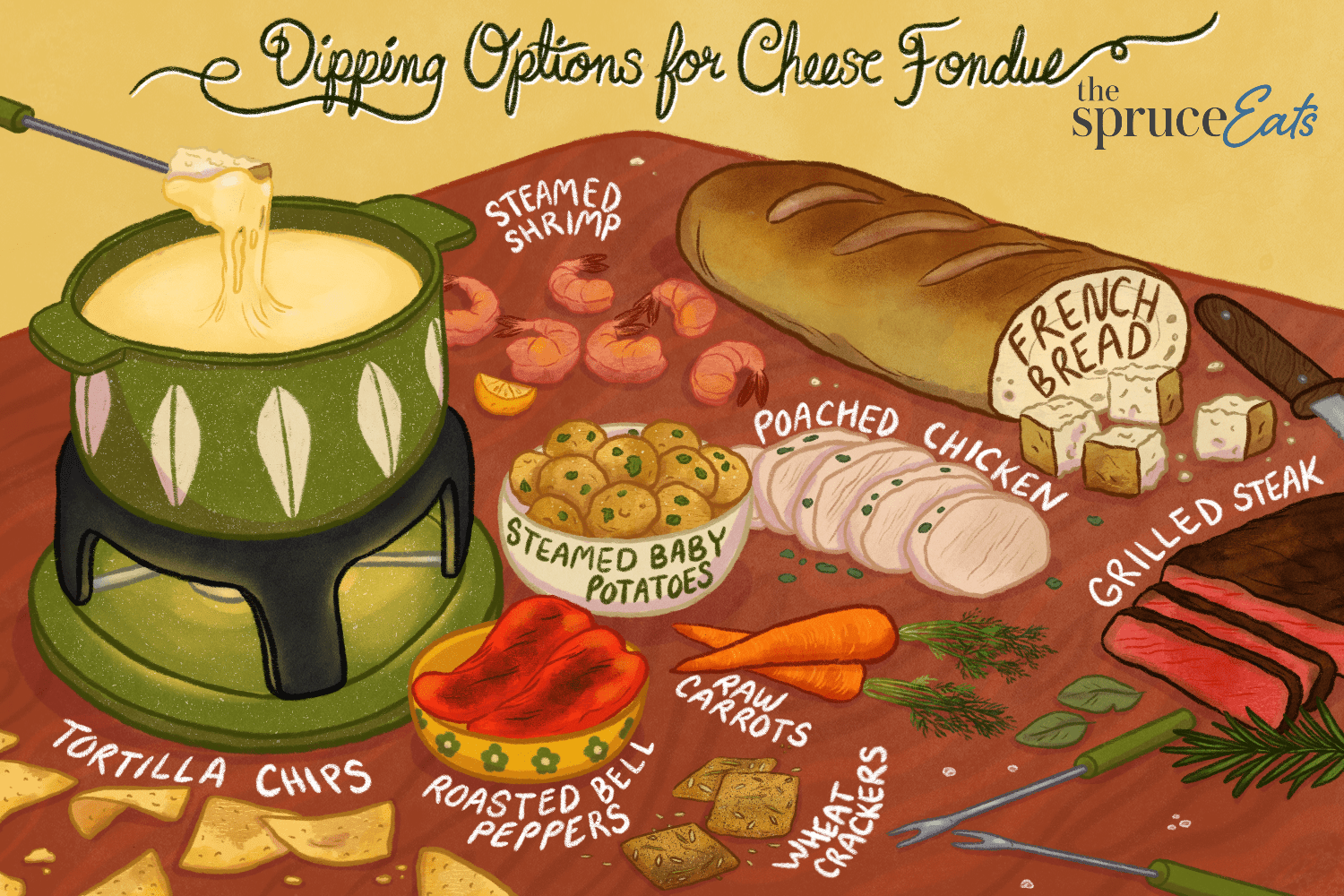 illustration showing dipping options for cheese fondue