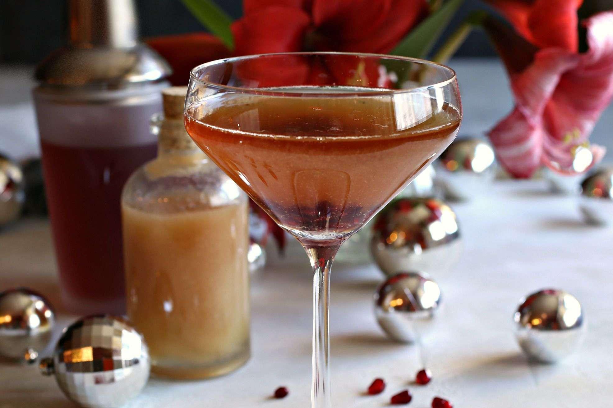 Pear and Pomegranate Champagne Shrub