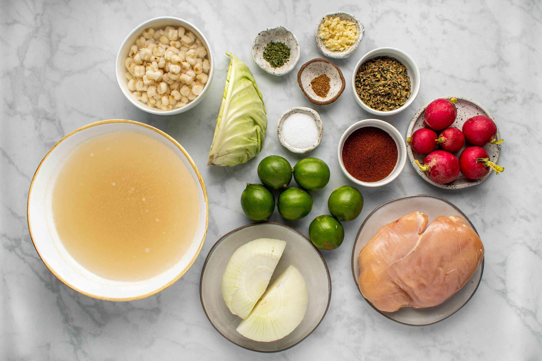 Ingredients for chicken pozole