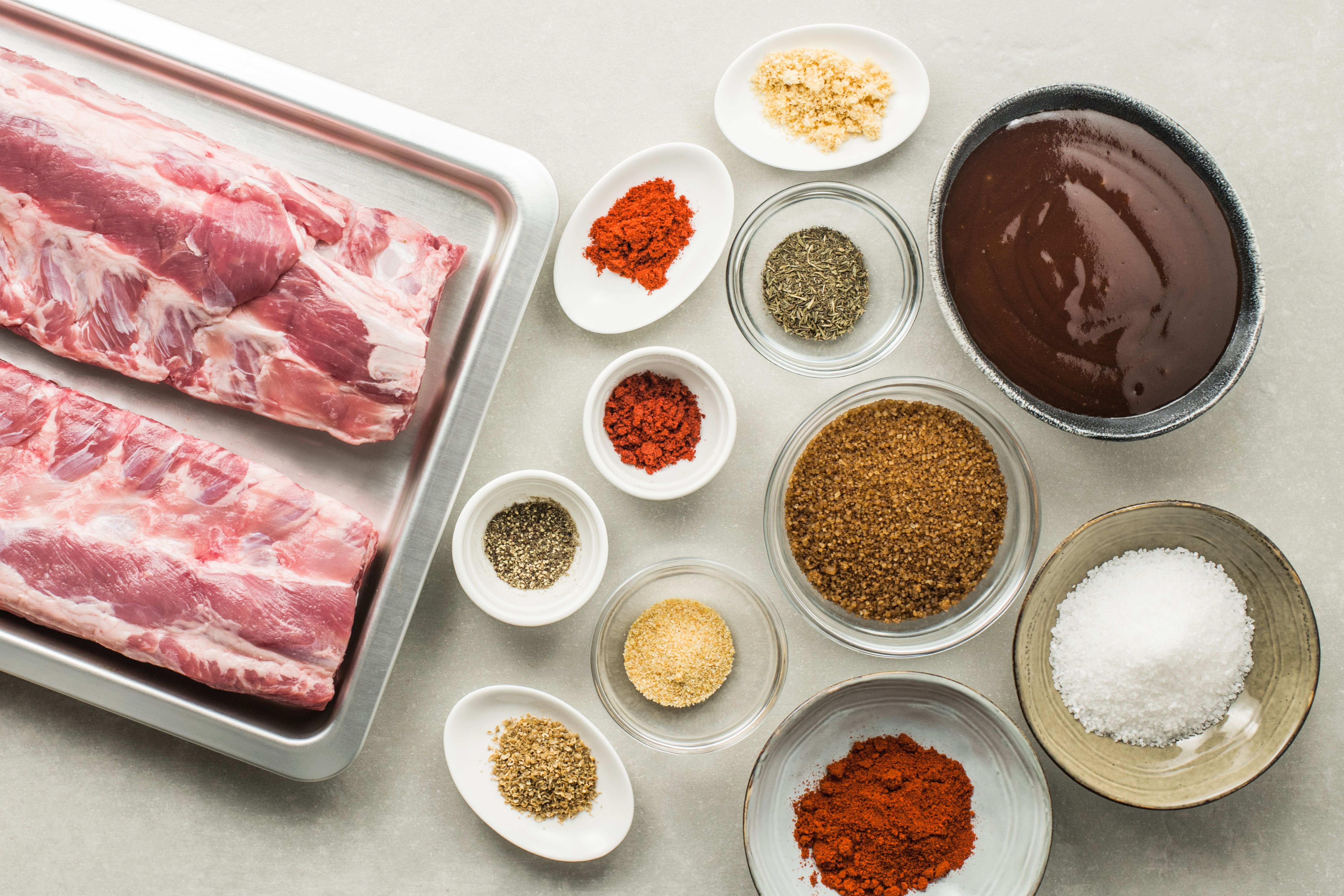 Ingredients for baked barbecue baby back ribs