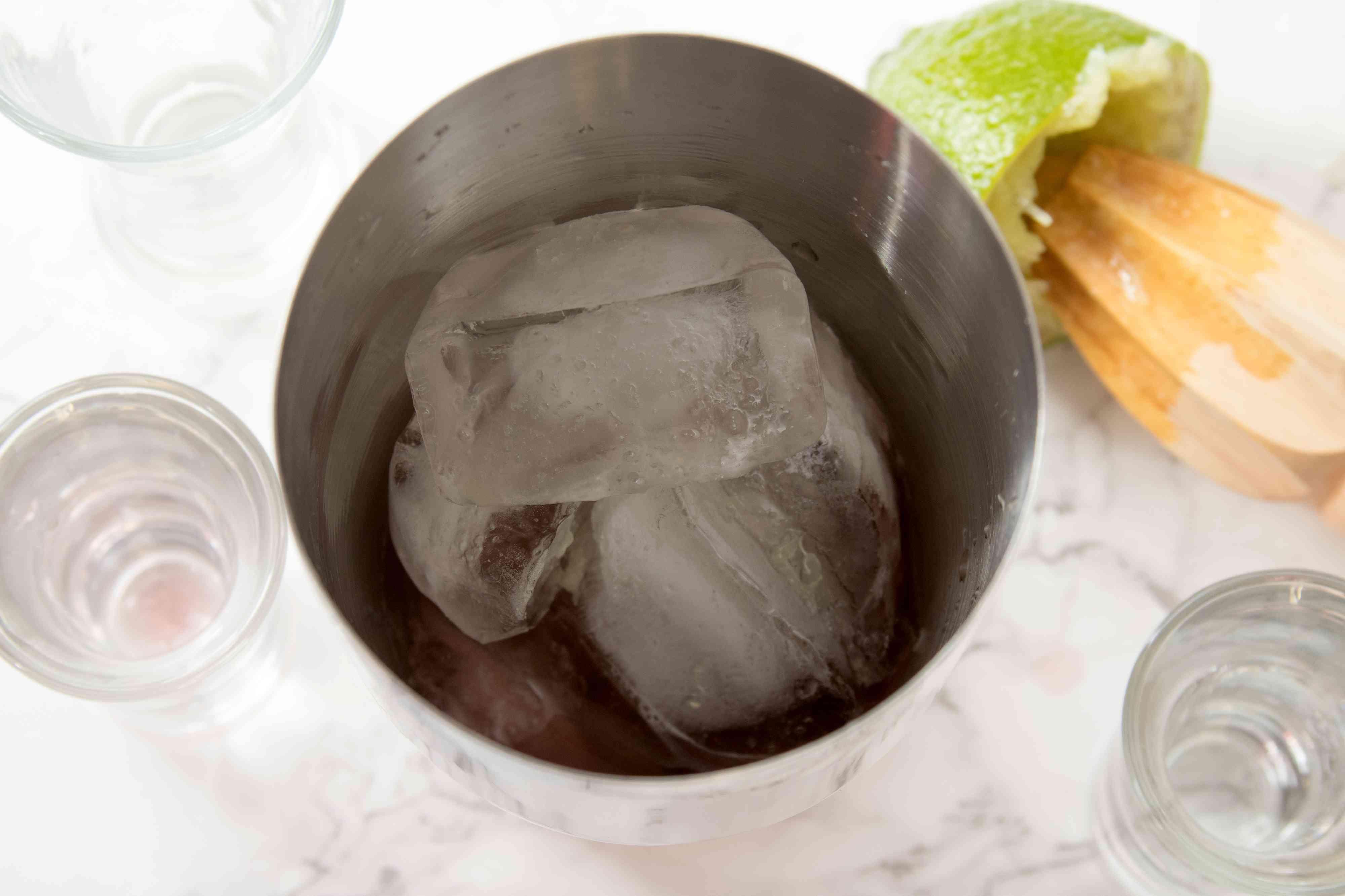 Mixing a Cranberry Margarita