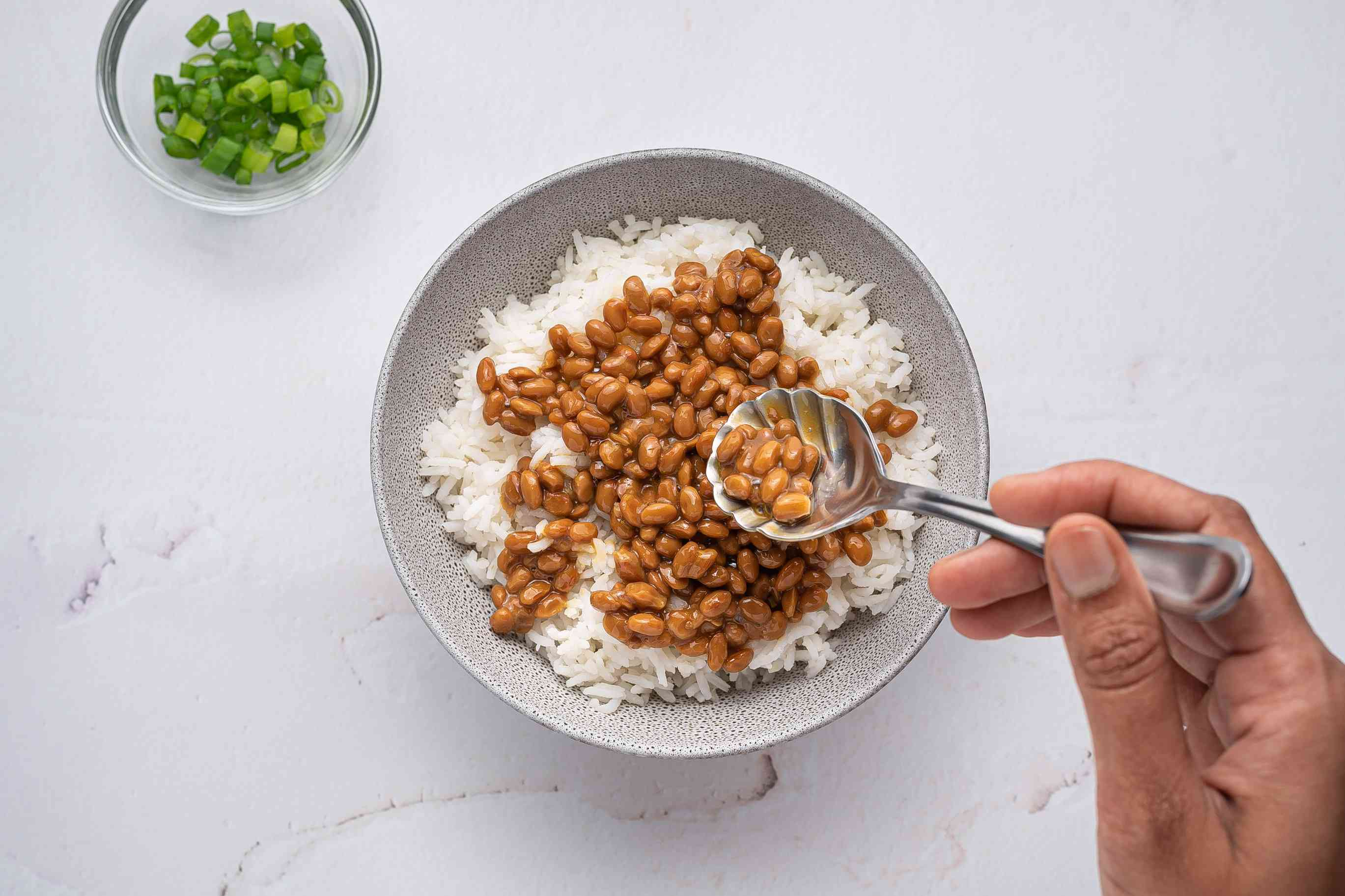 Natto With Rice in a bowl