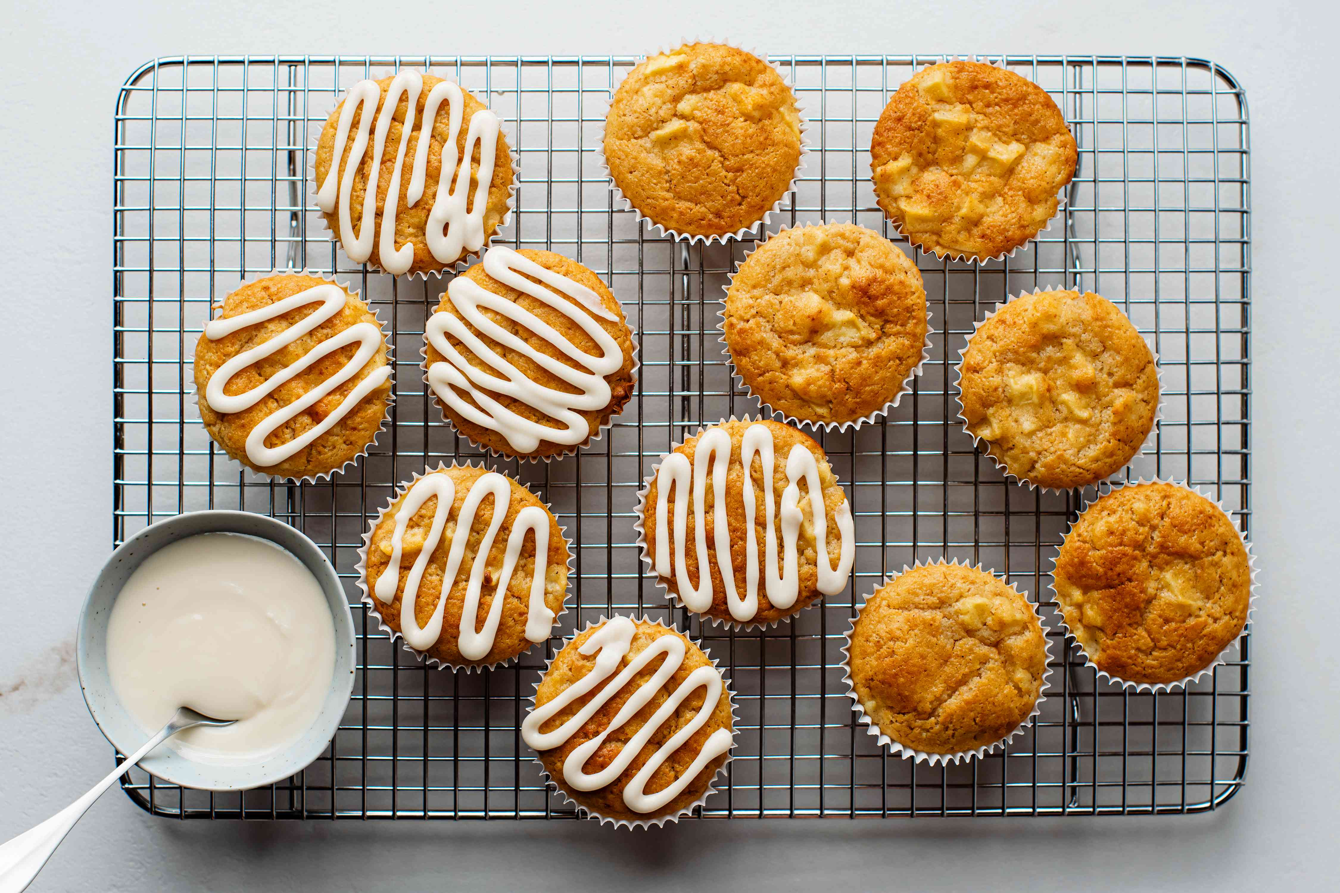Apple Cinnamon Muffins with a glaze on top