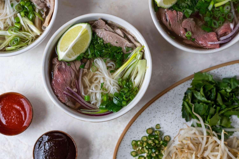 Pho Bo Soup (Vietnamese Beef Noodle Soup) in a bowl