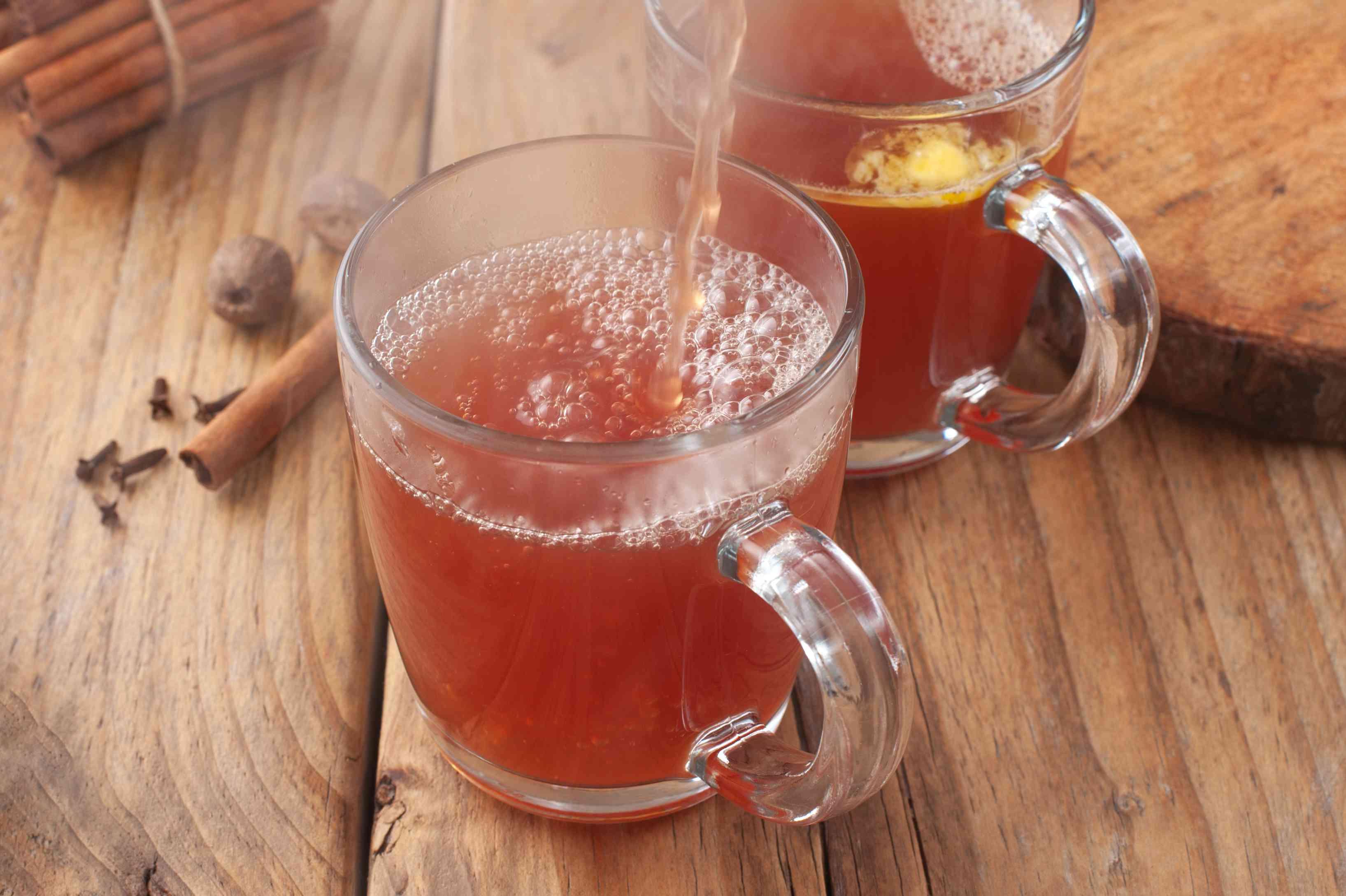 Pour into mugs