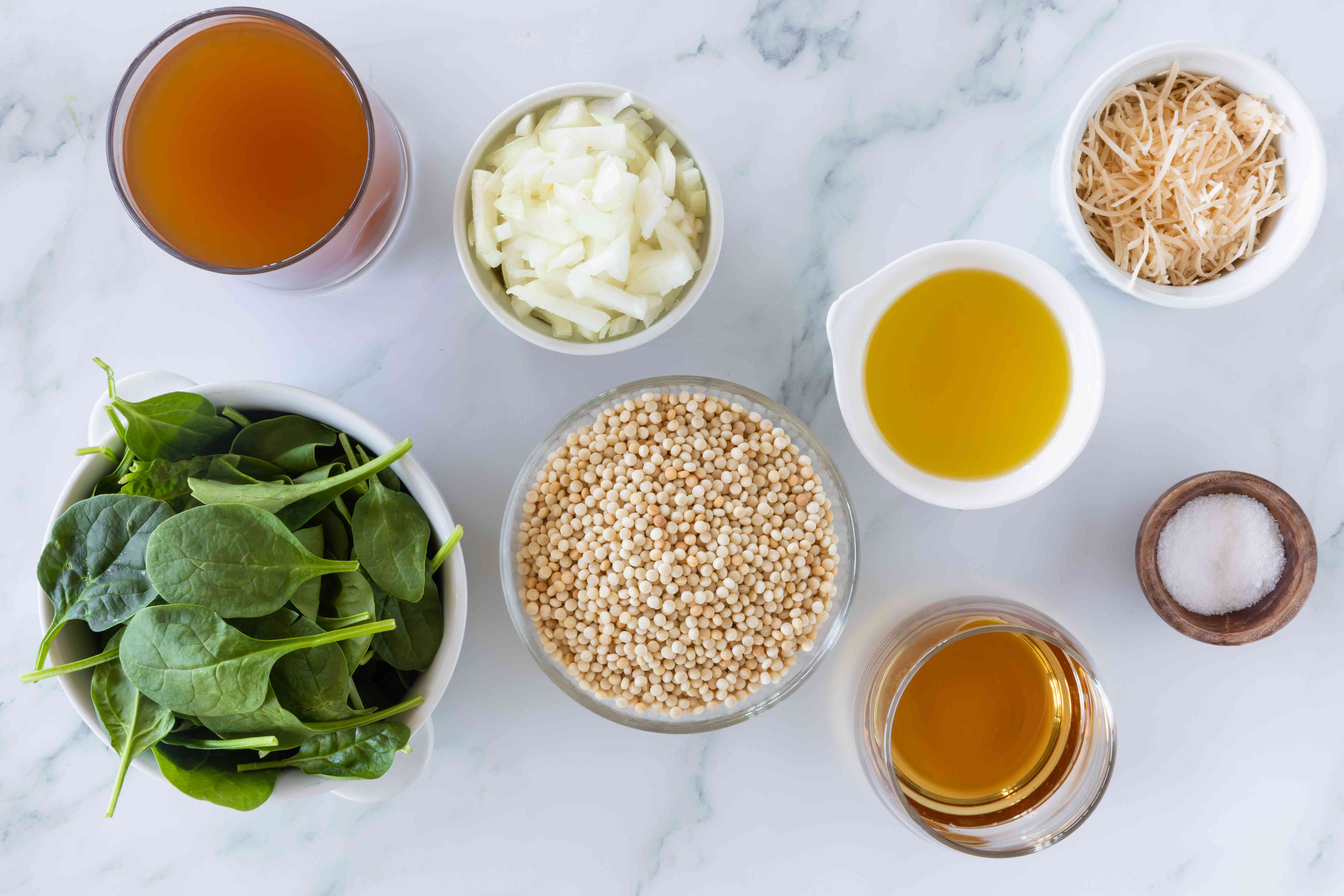 Ingredients for Israeli couscous risotto with spinach