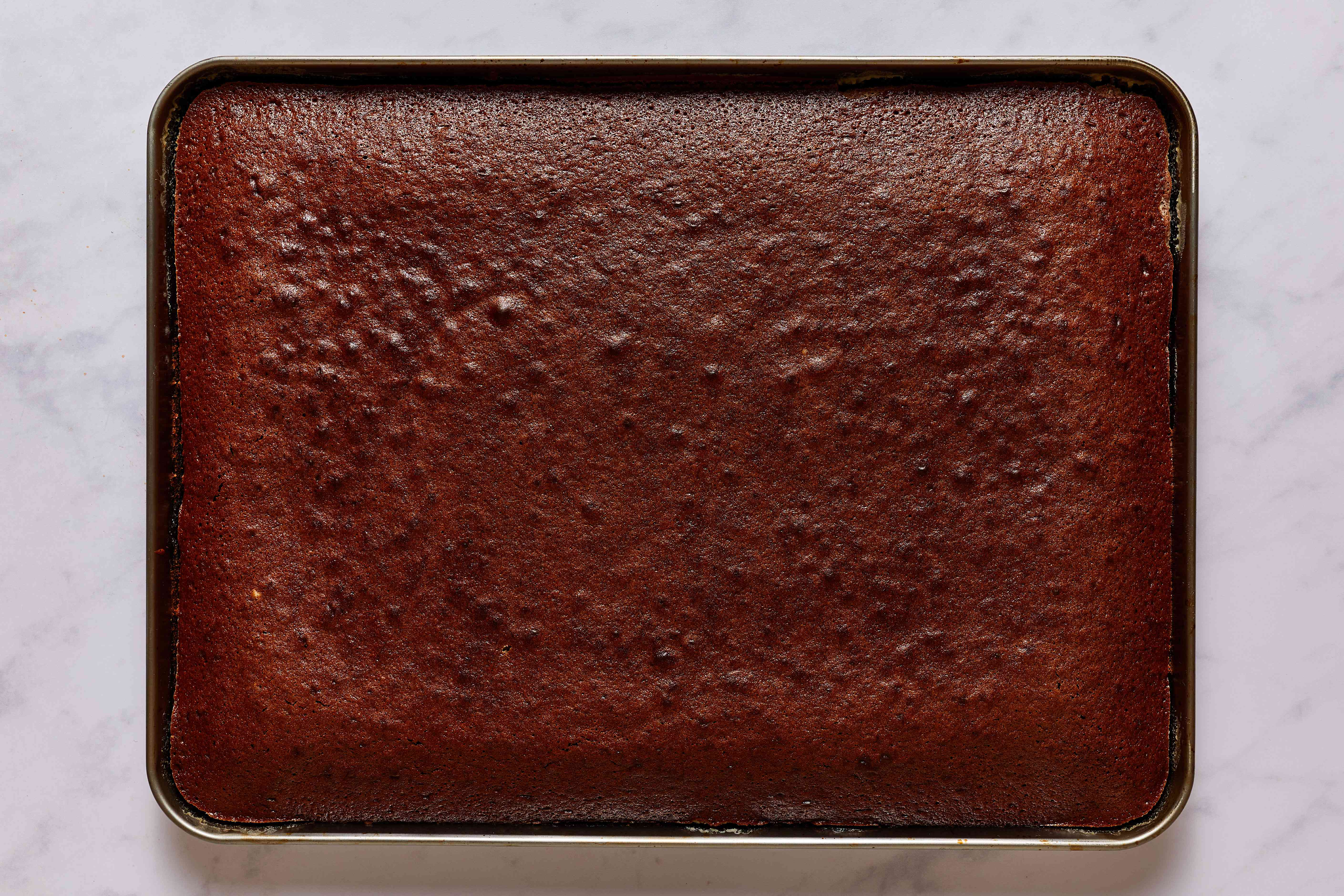 baked brownie in a baking pan