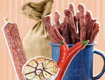 a composite image of beef jerky