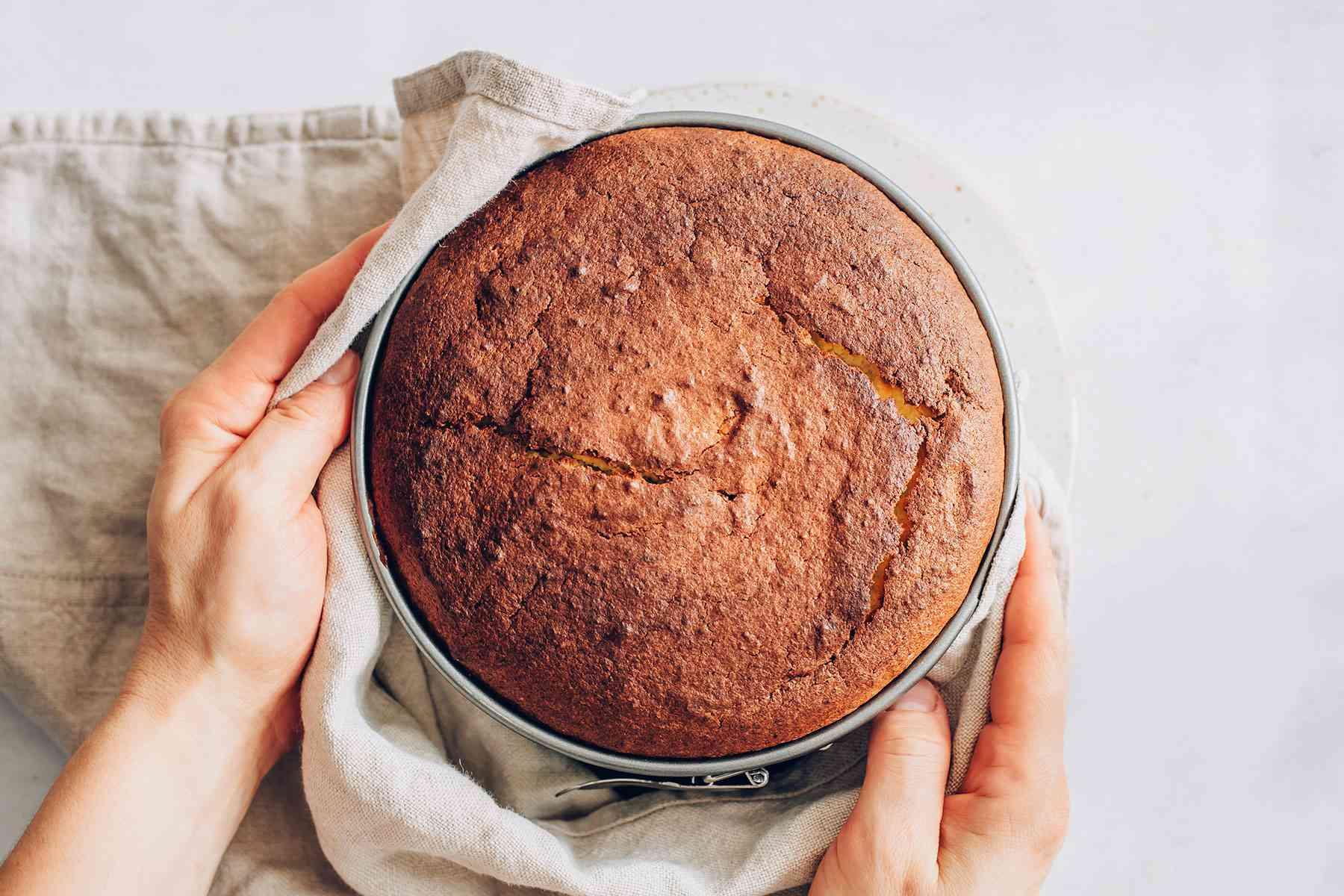Lemon cake in a a springform pan