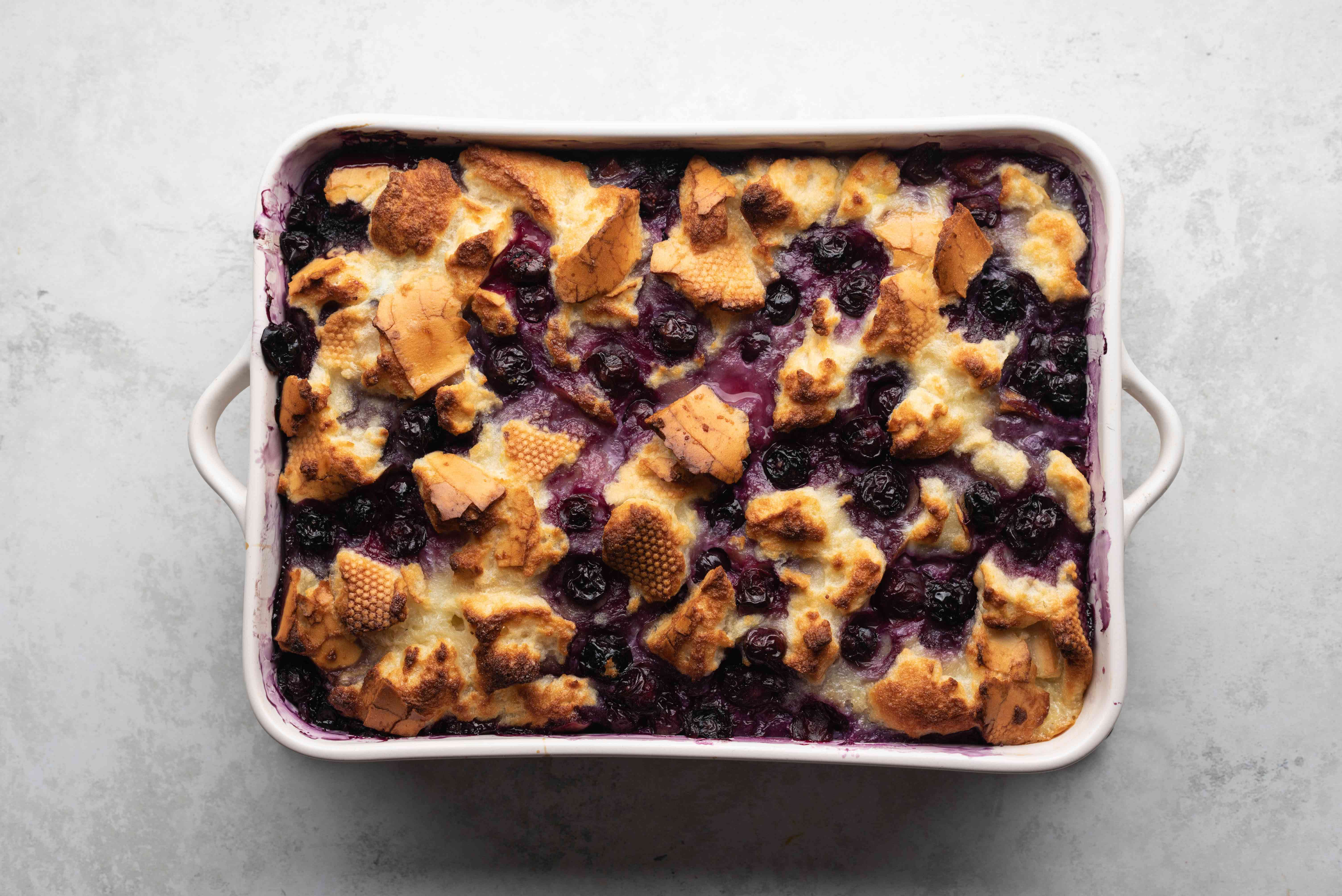 baked bread pudding in a baking dish