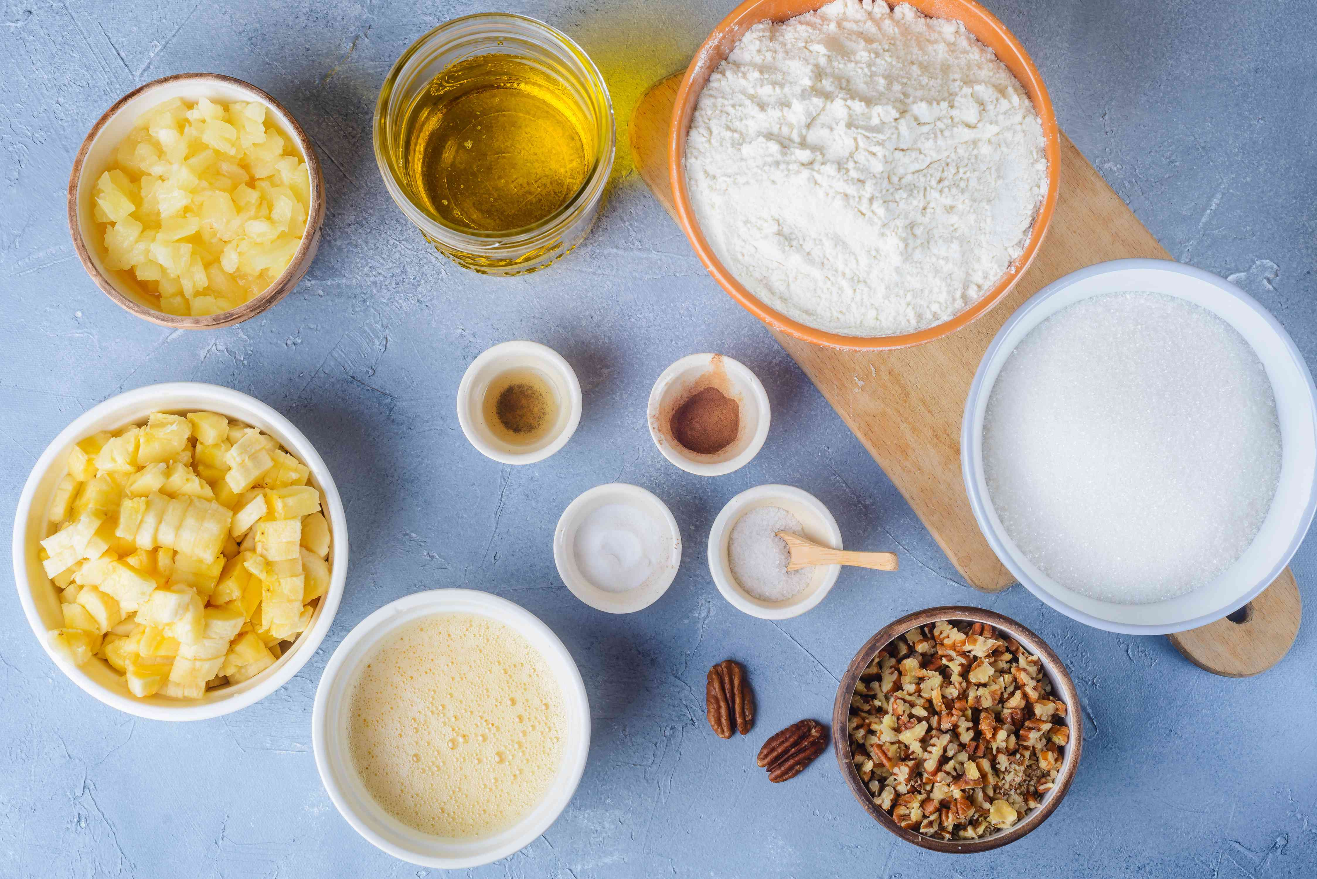 Ingredients for classic hummingbird cake