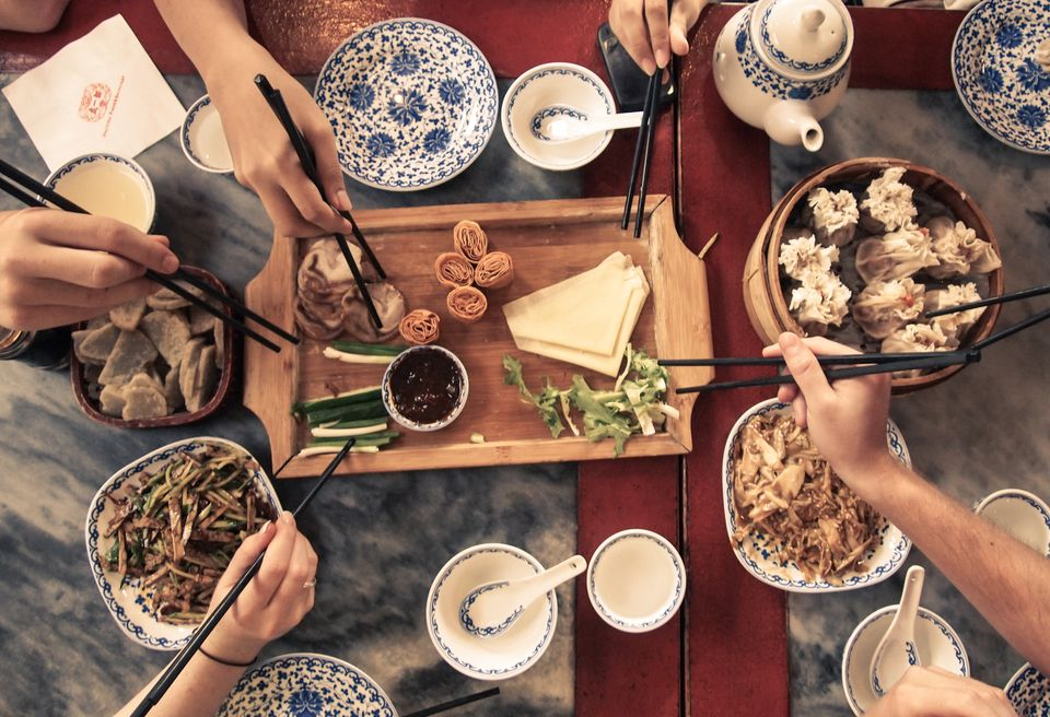 People eating Chinese meal
