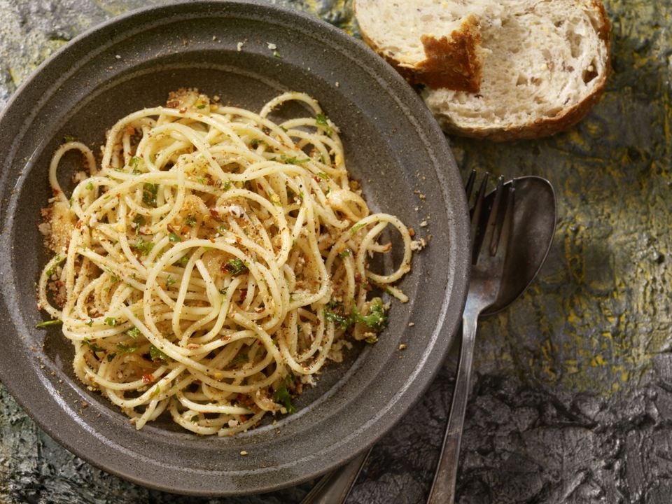 Spaghetti with Garlic, Chile Pepper, Olive Oil, Parsley and Breadcrumbs