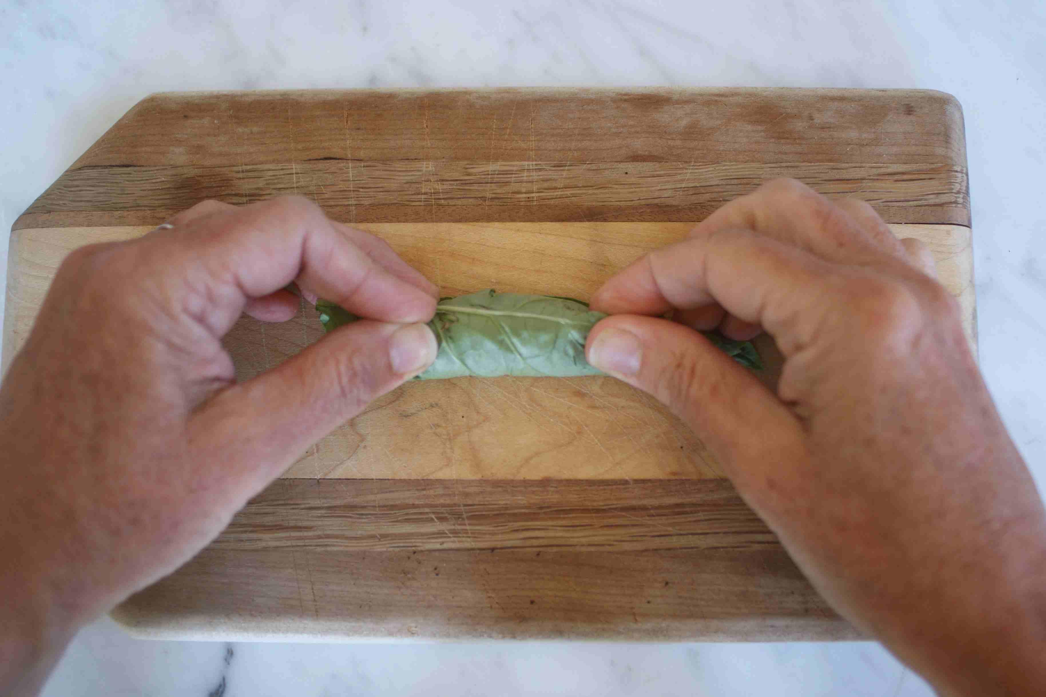 Preparing Basil to Chiffonade