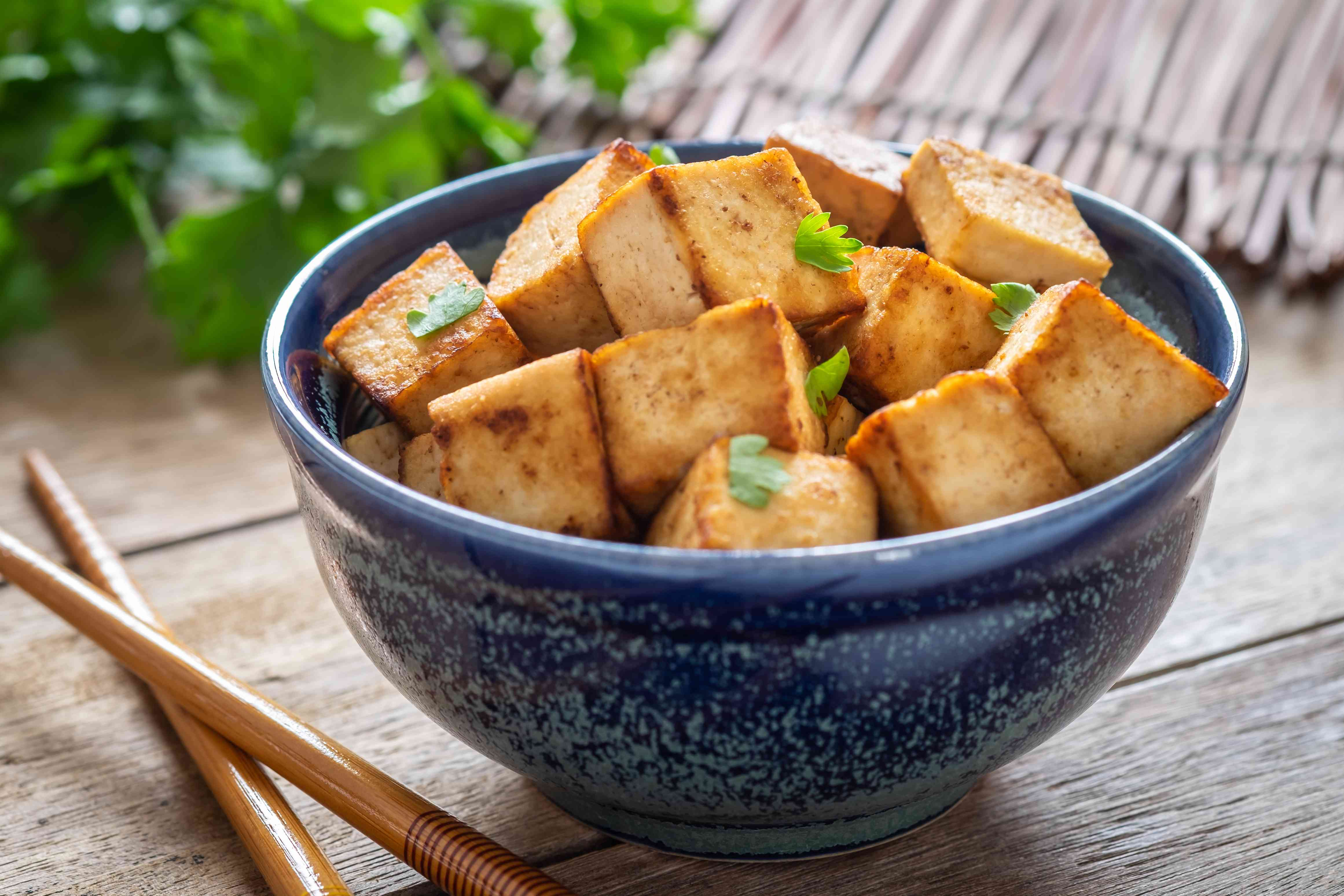 Fried tofu in bowl, Vegetarian food