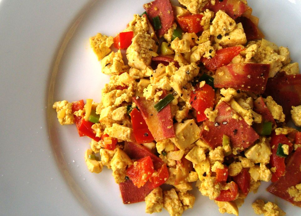"Vegan ""bacon and eggs"" tofu scramble for breakfast"