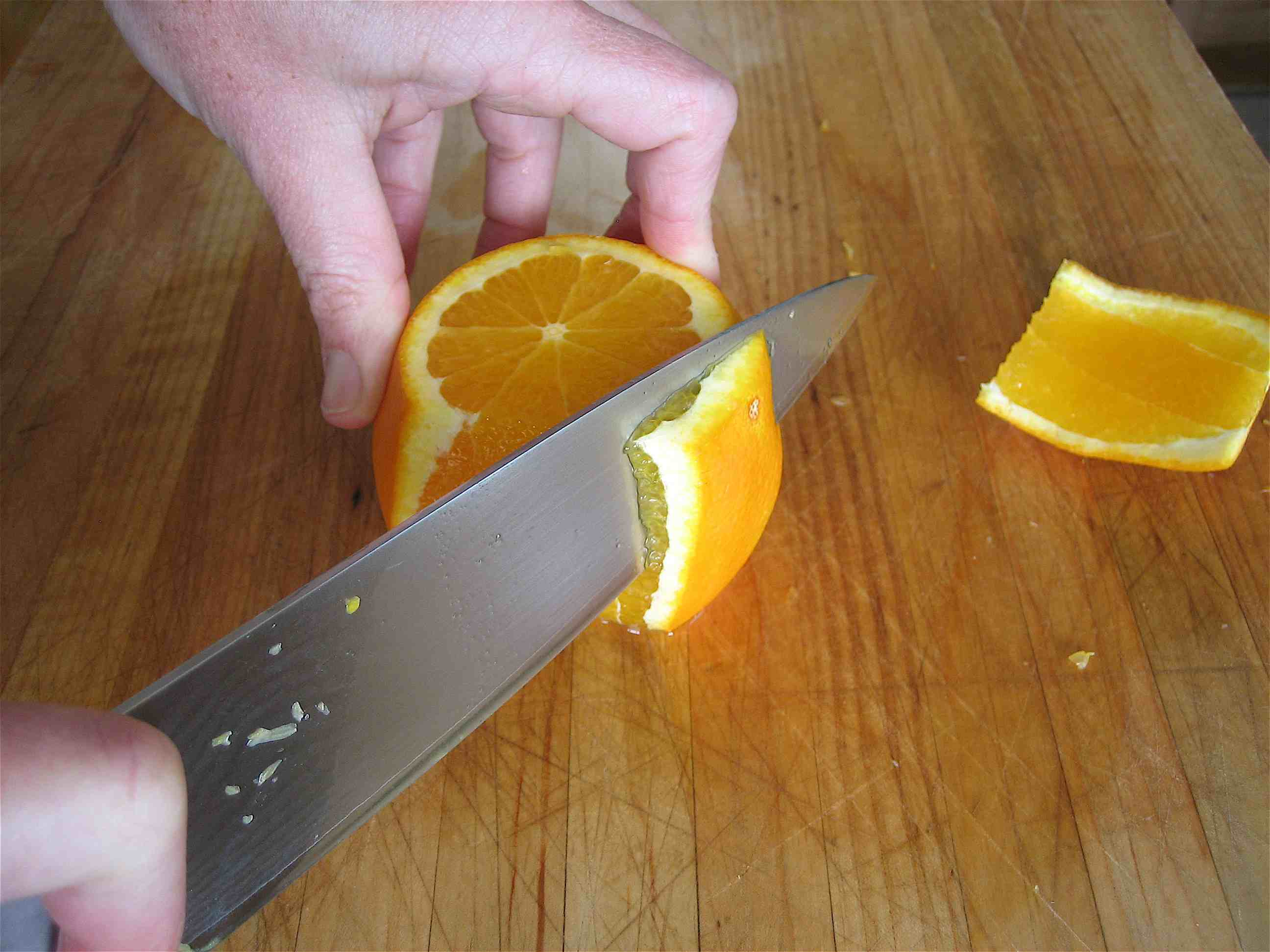 Sectioning citrus: remove all peel & pith