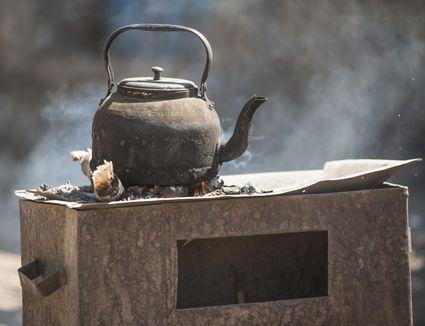 A rustic Ethiopian coffee kettle