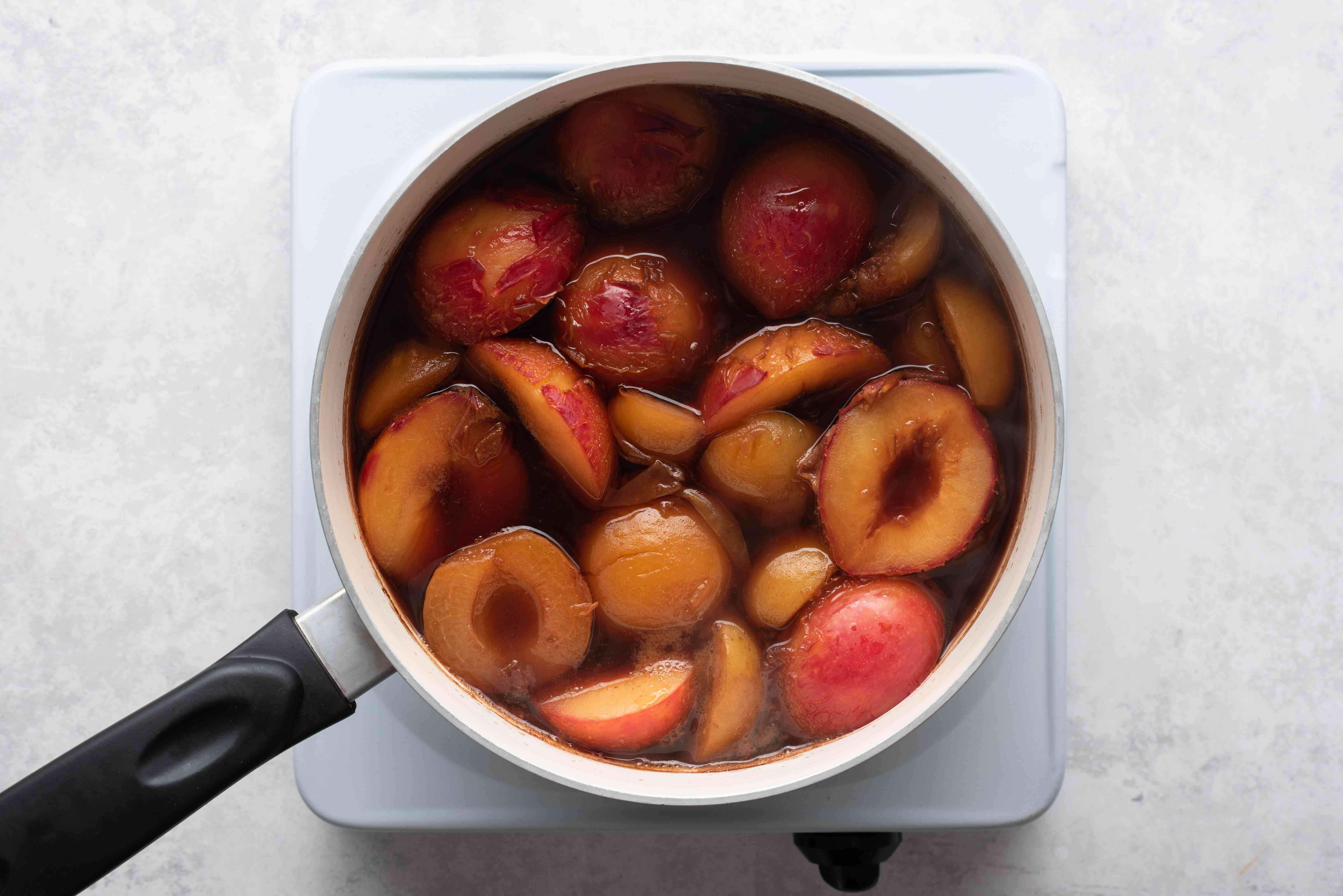Place the plums, apricots, cider vinegar, water, and balsamic vinegar in a saucepan