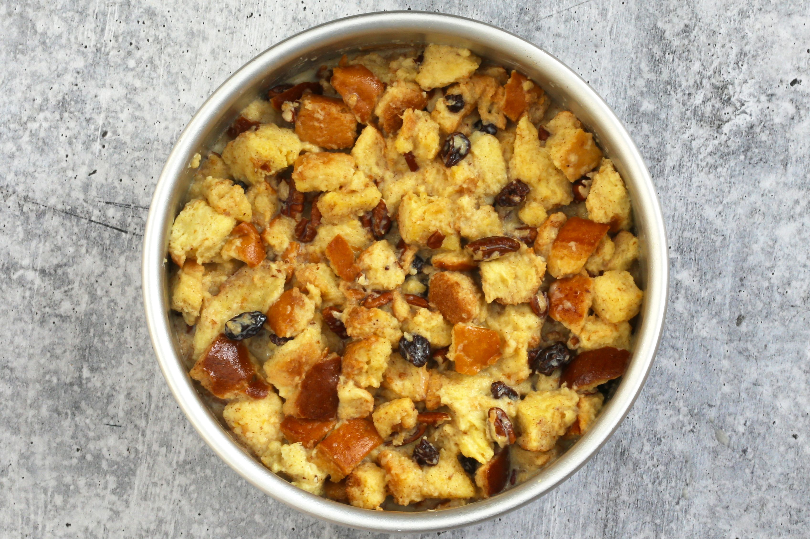 Instant Pot bread pudding cooked.