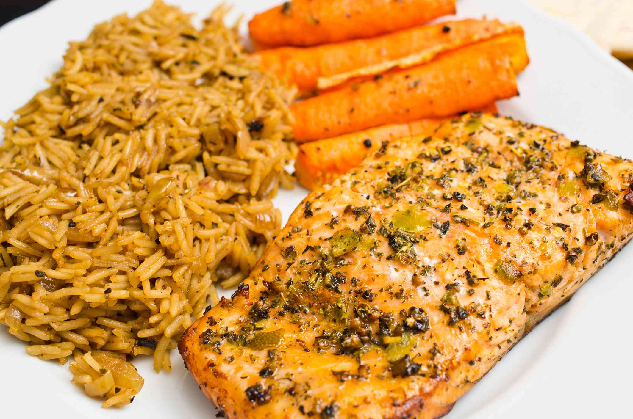 Salmon with carrots and rice