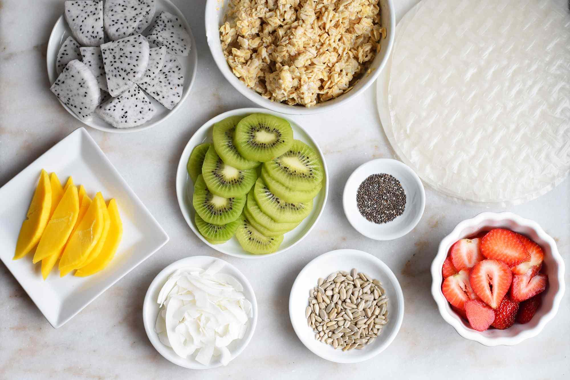 ingredients for sweet breakfast summer rolls