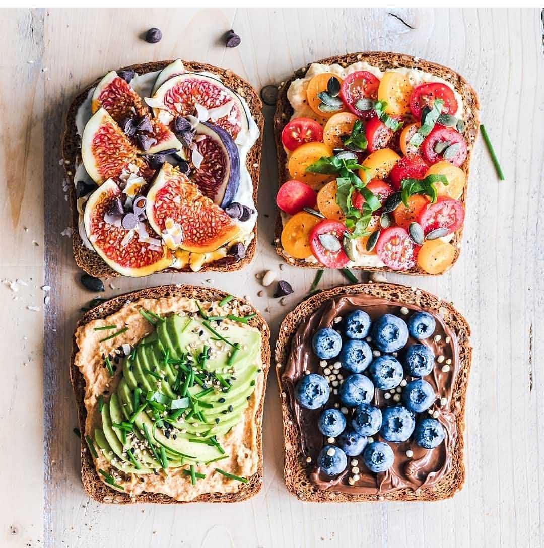 Assorted toasts - @veganvultures