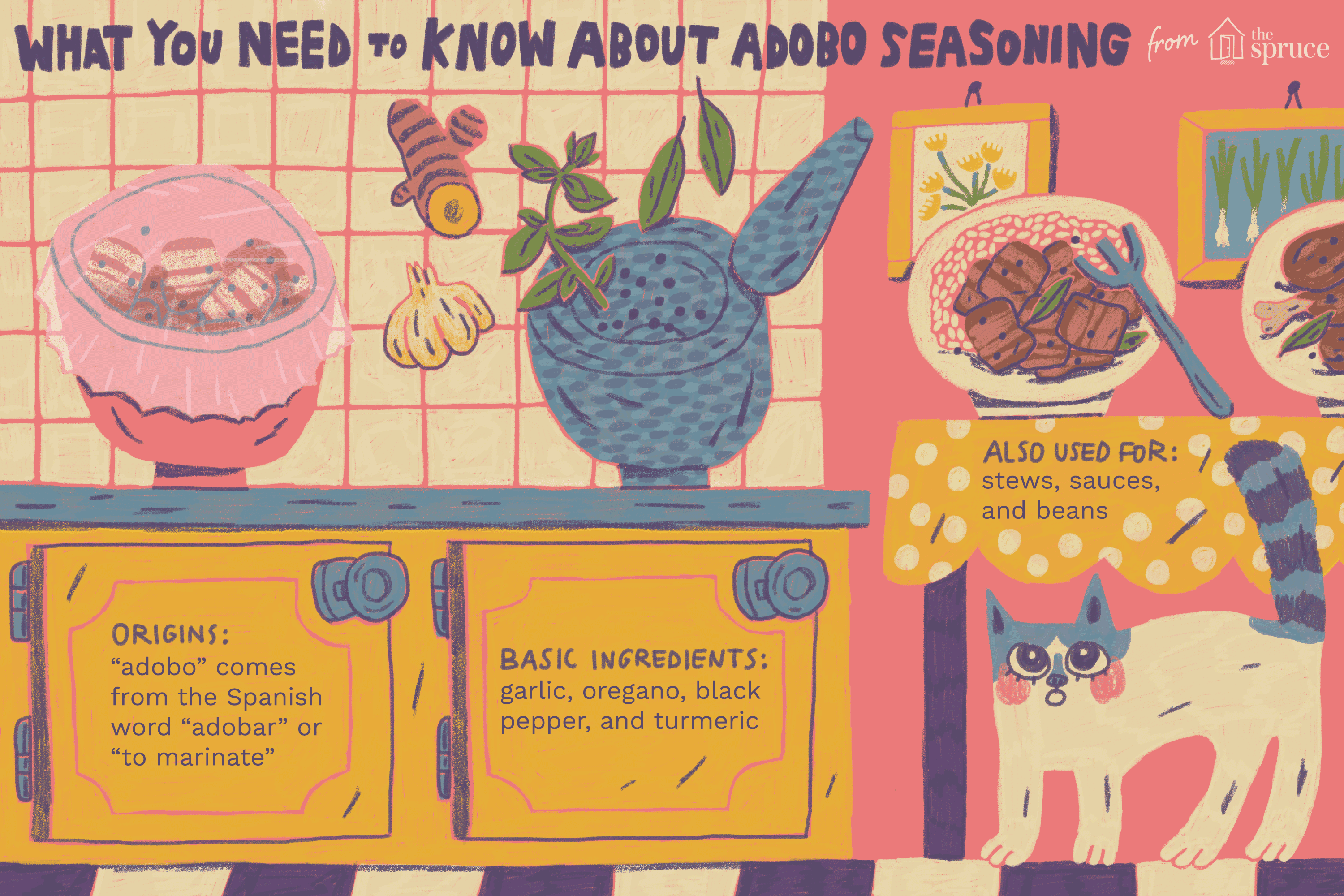 Illustration of kitchen with information about adobo seasoning