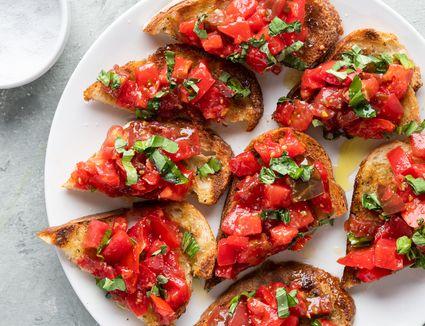 Authentic Bruschetta on bread