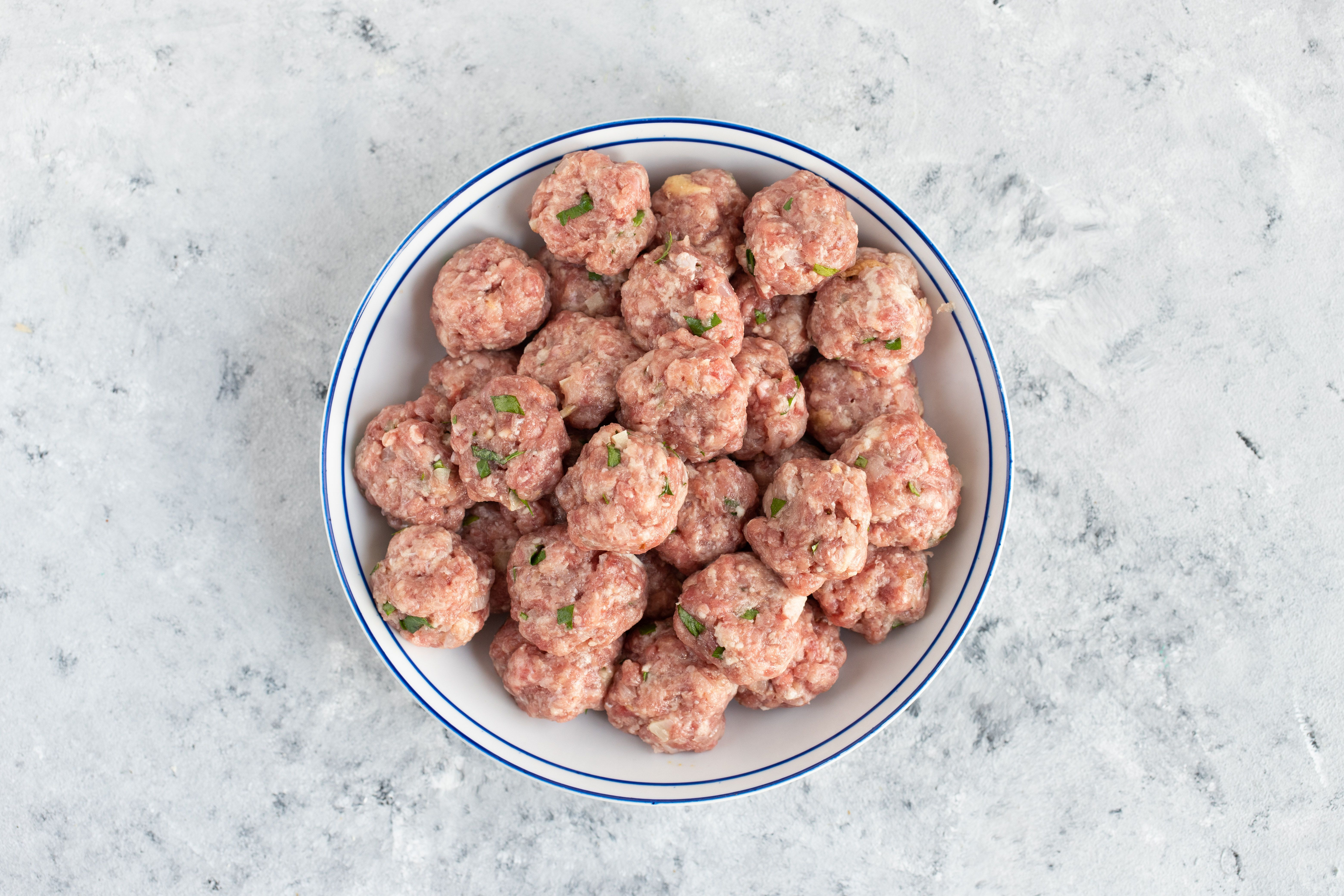 Formed meatballs in a bowl