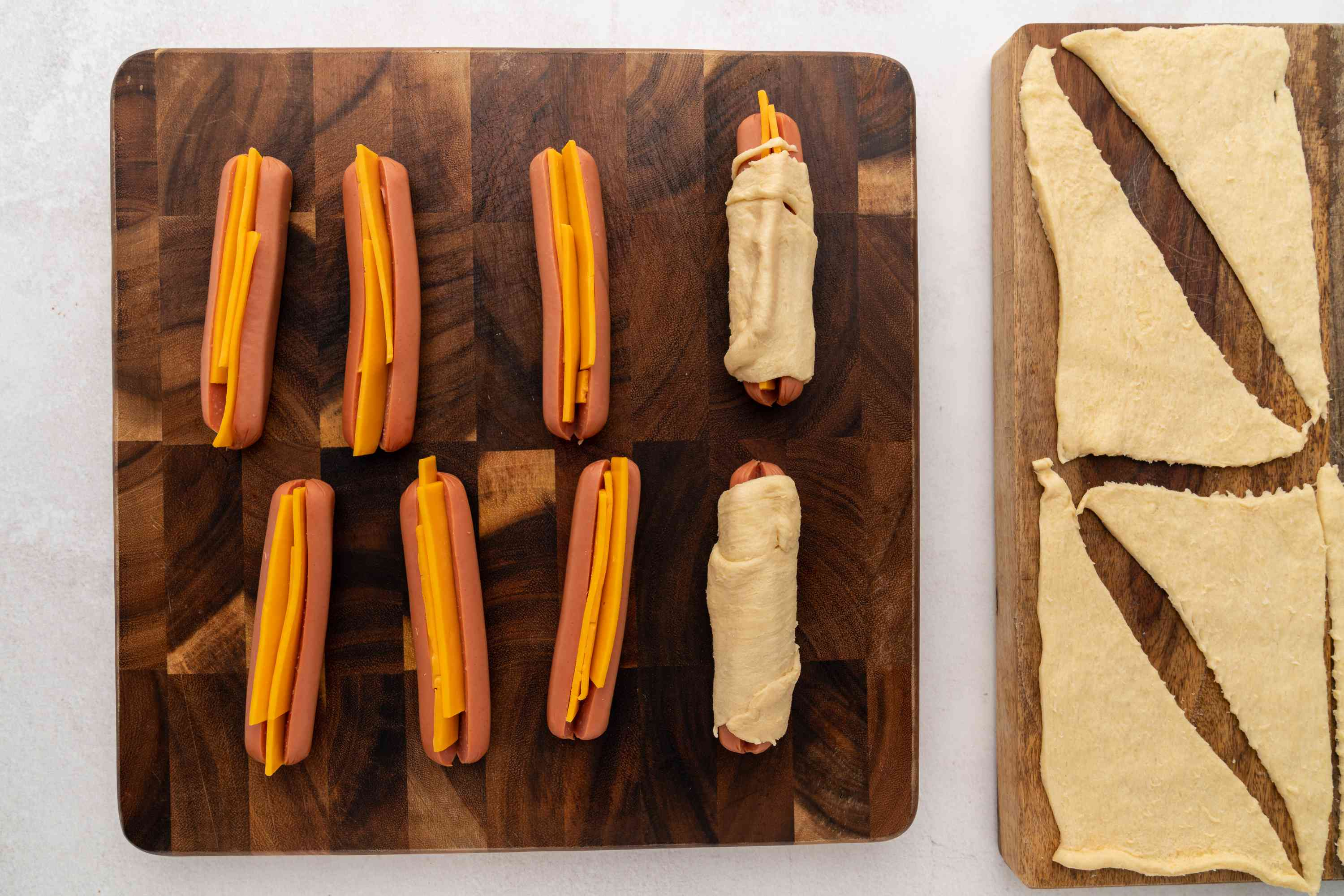 Hot dogs with cheese wrapped with dough