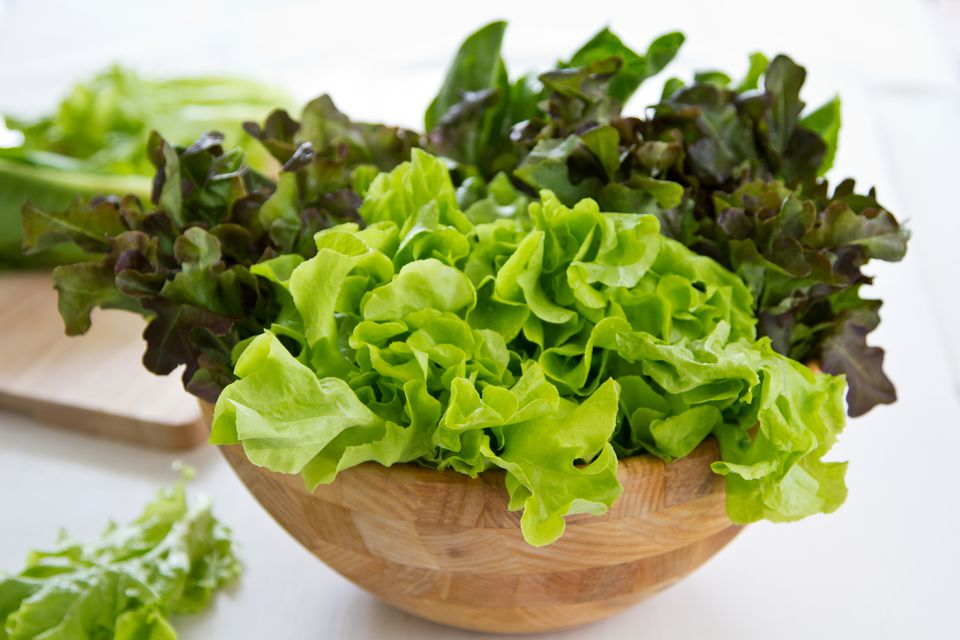 Fresh lettuce in the wooden bowl