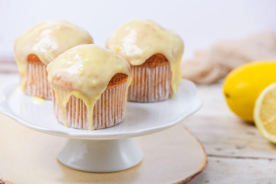Lemon glaze icing cupcake