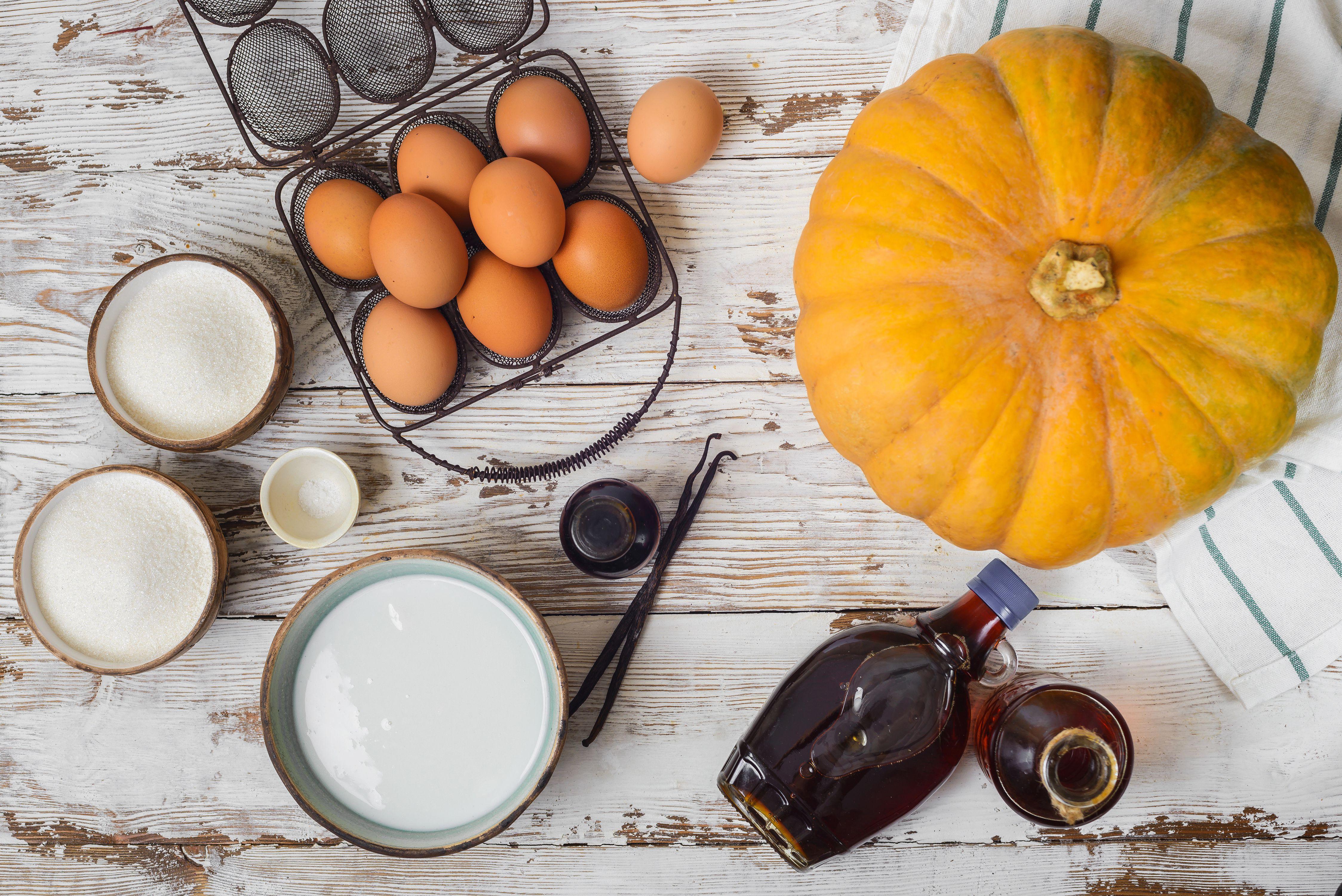 Gather the ingredients for Thai pumpkin custard