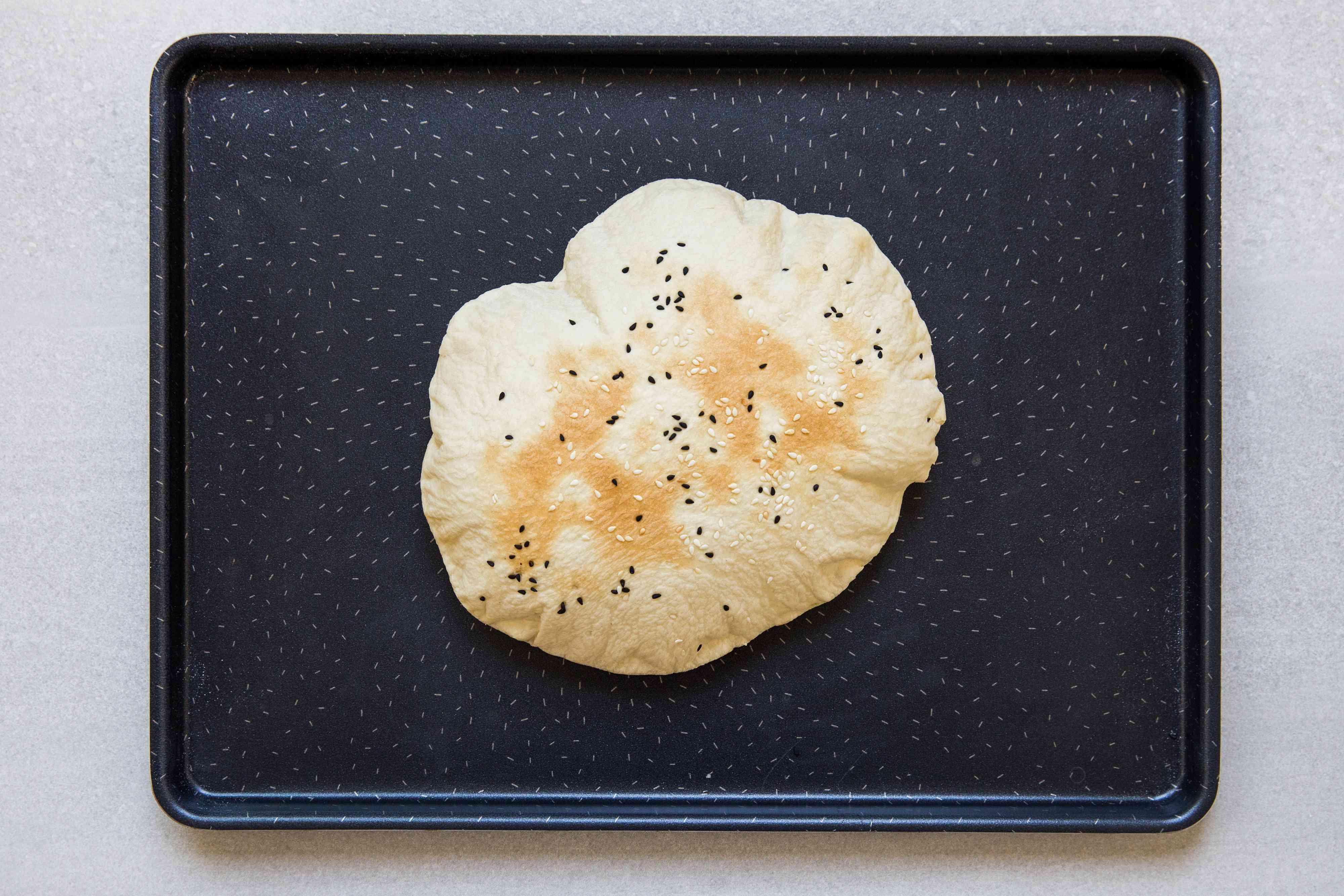 Authentic Turkish Lavas Puff Bread on a baking pan