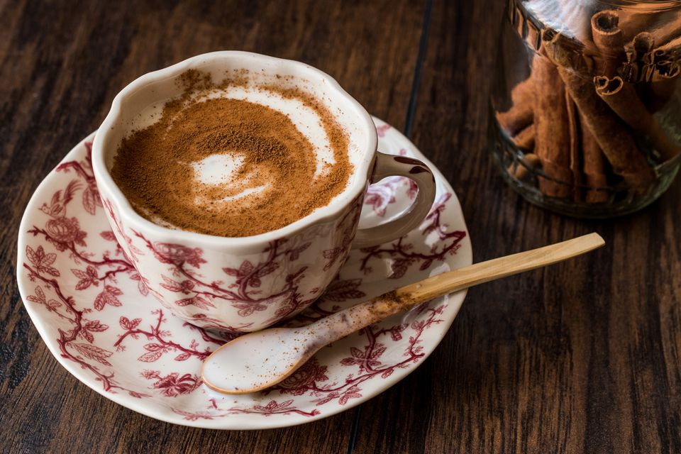 Turkish salep or sahlep with cinnamon sticks