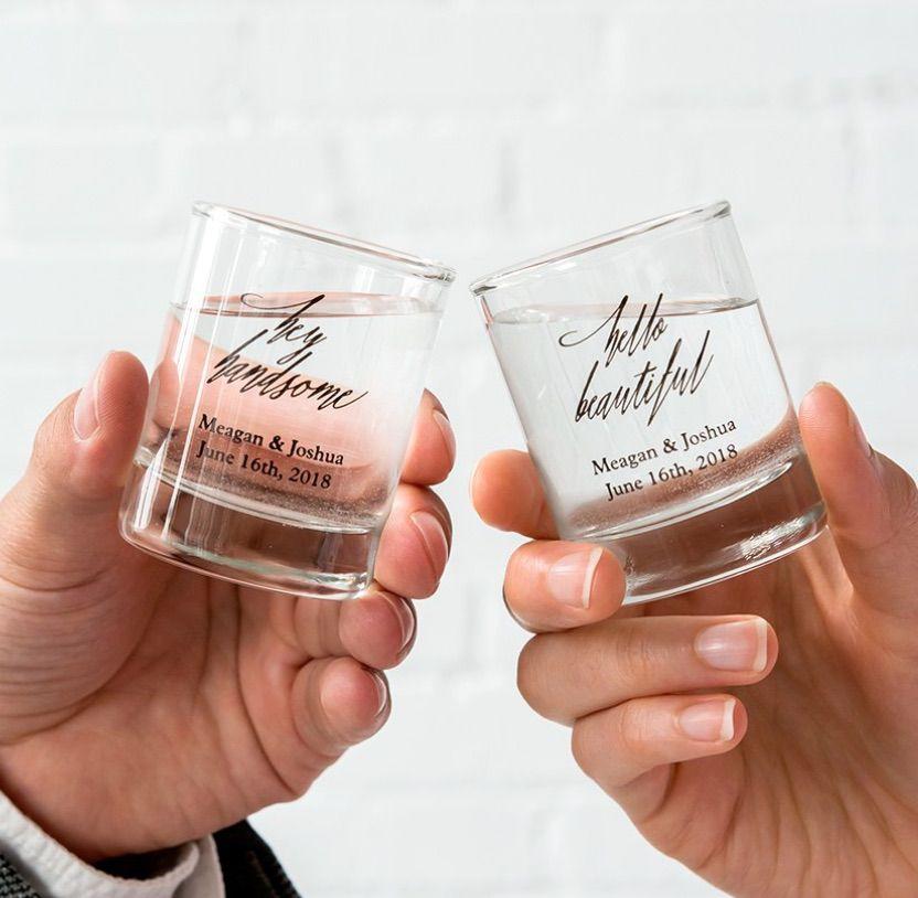 Custom Printed Clear Shot Glass Wedding Favor