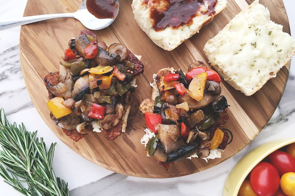 Vegetarian Philly Cheesesteak Sandwich With Tempeh