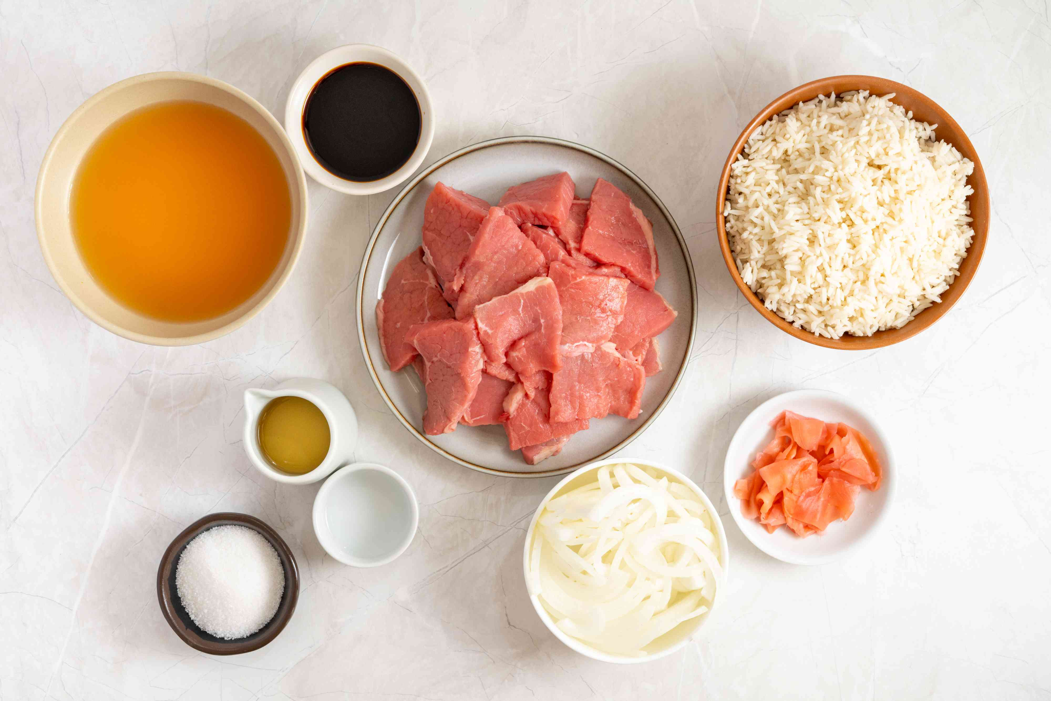 Ingredients for Gyudon