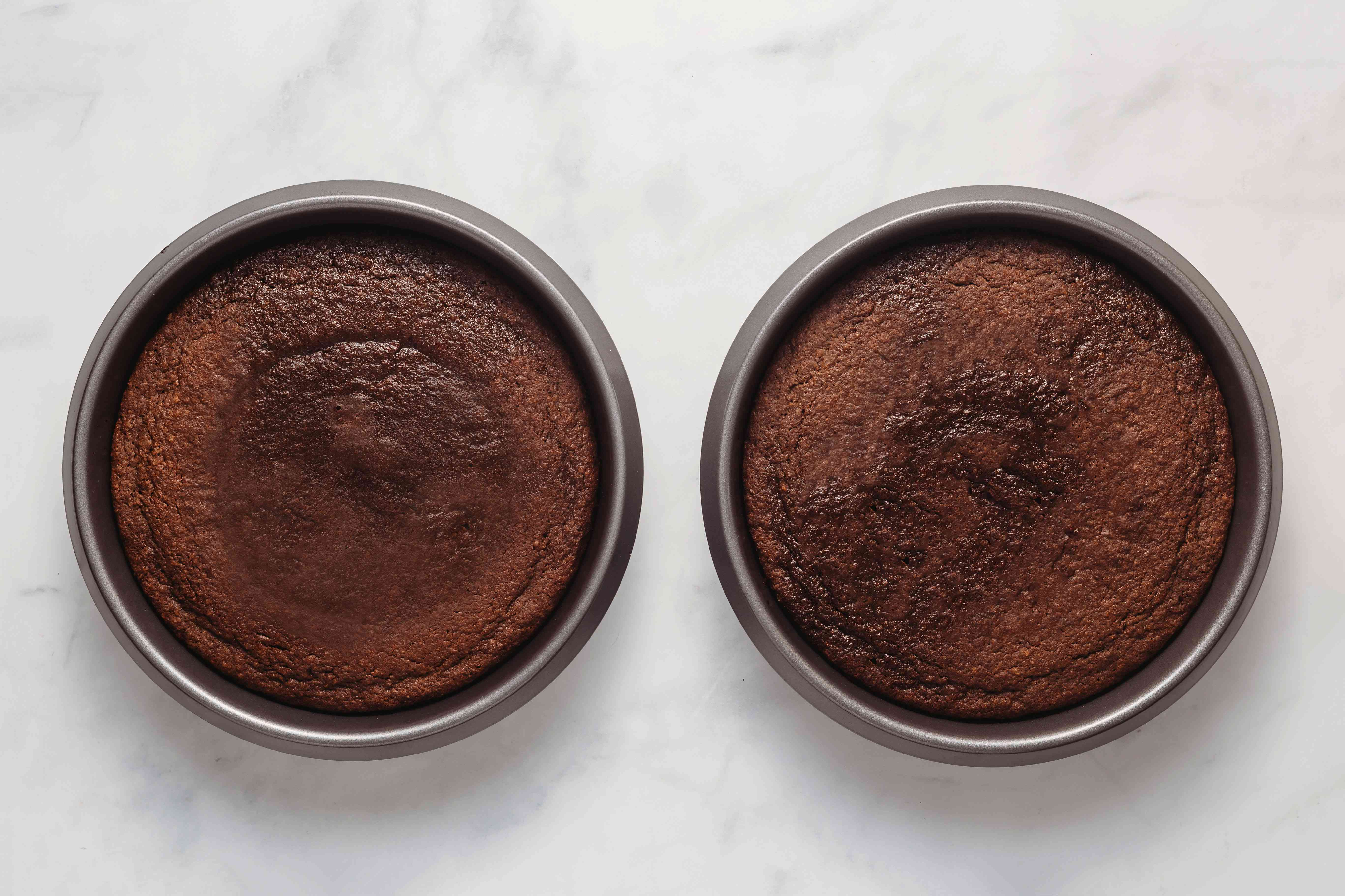 baked cakes in cake pans