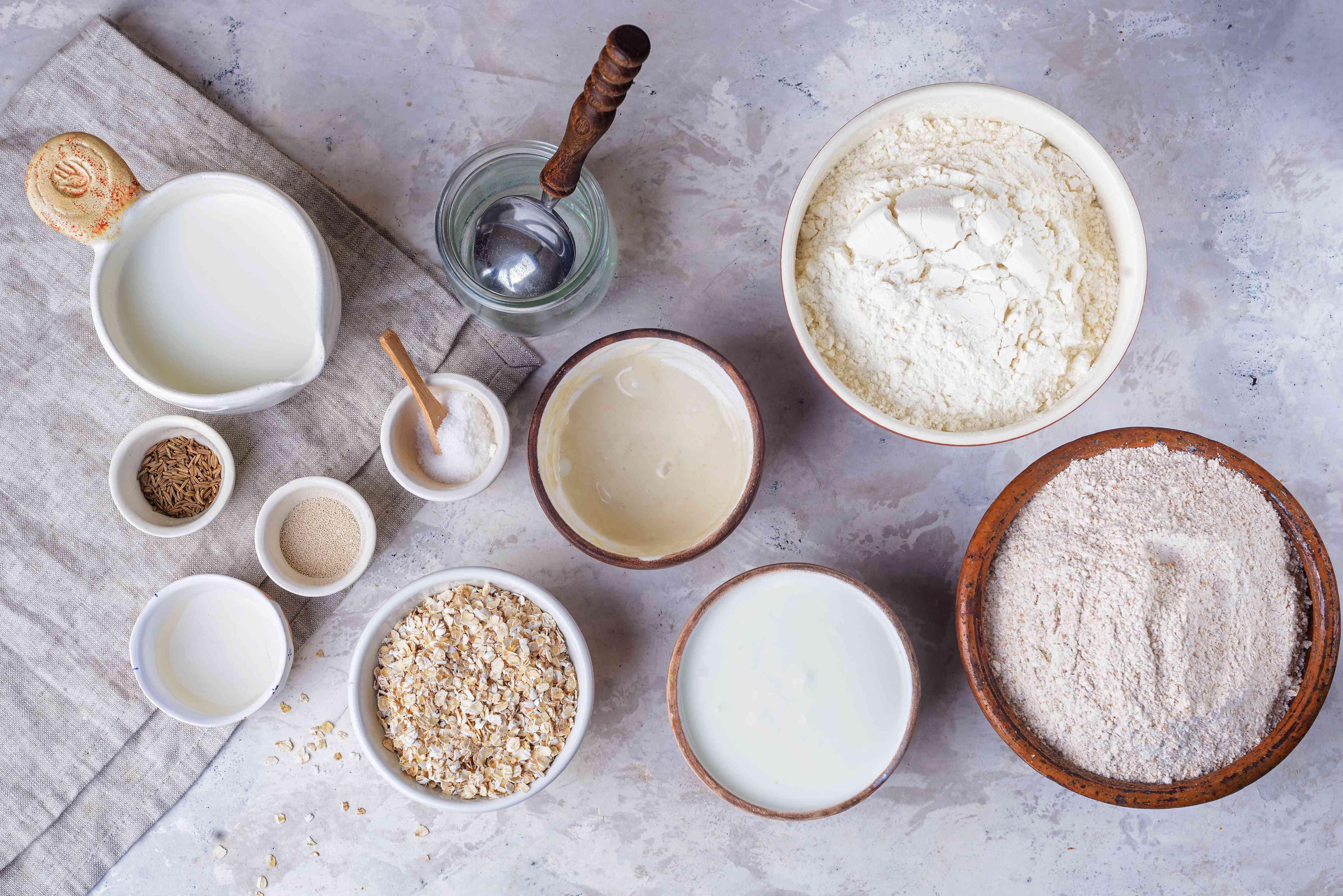 German Farmers Bread Dough Ingredients